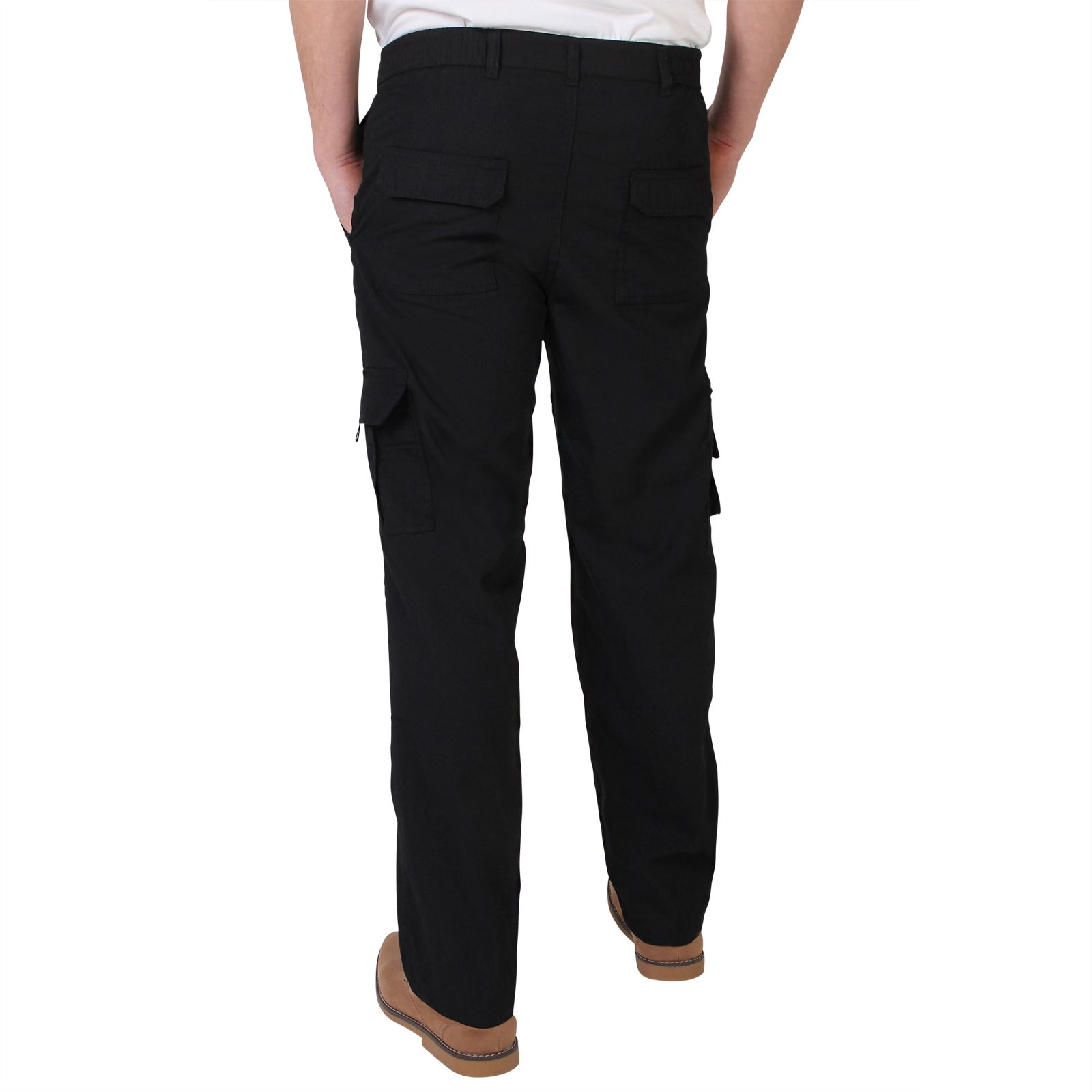 Uomo-Militare-Cargo-Pantaloni-Cotone-Lavoro-Chino-Casual-Kaki miniatura 4