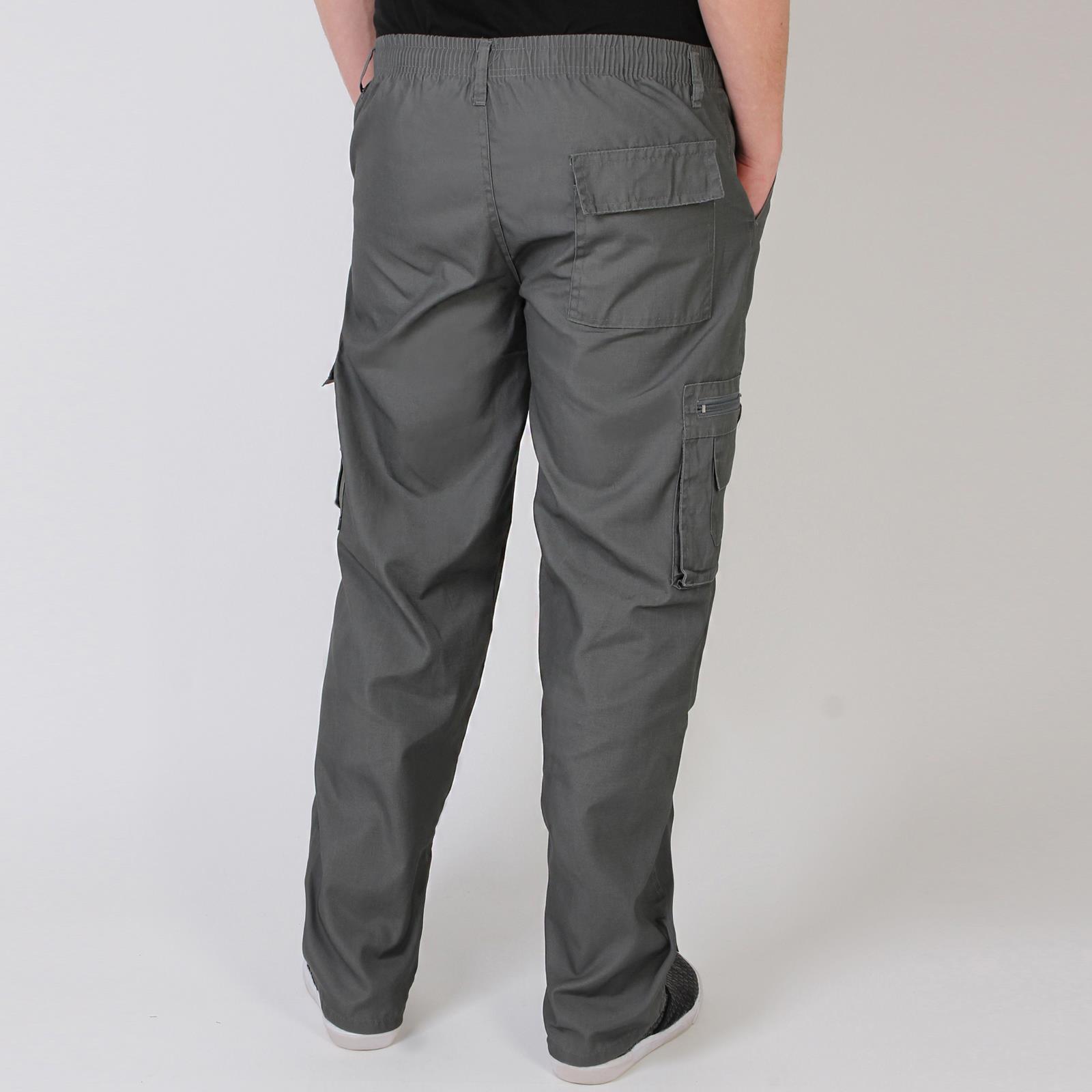 Uomo-Militare-Cargo-Pantaloni-Cotone-Lavoro-Chino-Casual-Kaki miniatura 16