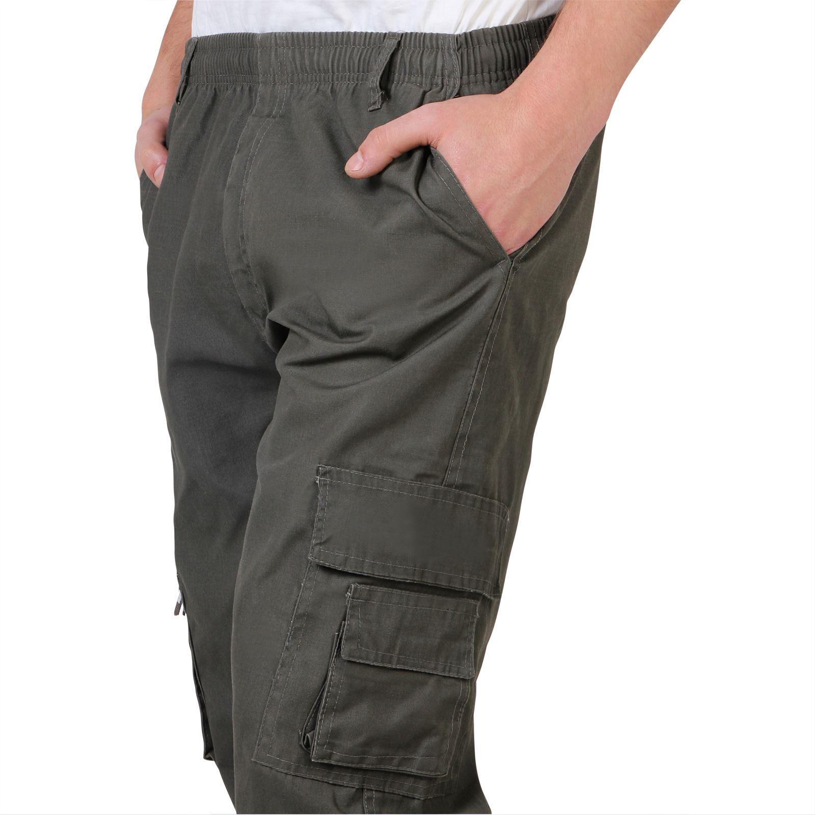 Uomo-Militare-Cargo-Pantaloni-Cotone-Lavoro-Chino-Casual-Kaki miniatura 10