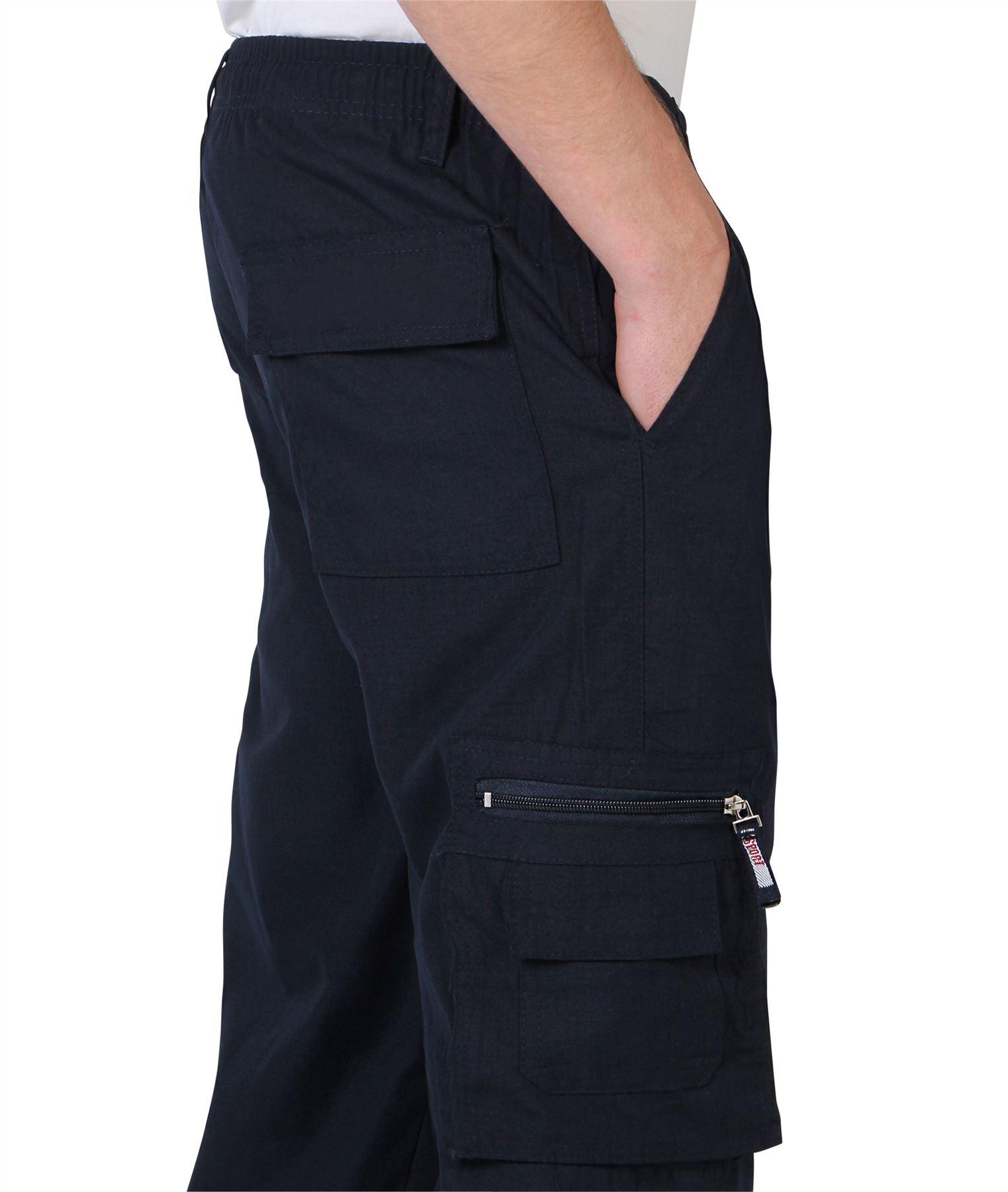 Uomo-Militare-Cargo-Pantaloni-Cotone-Lavoro-Chino-Casual-Kaki miniatura 27