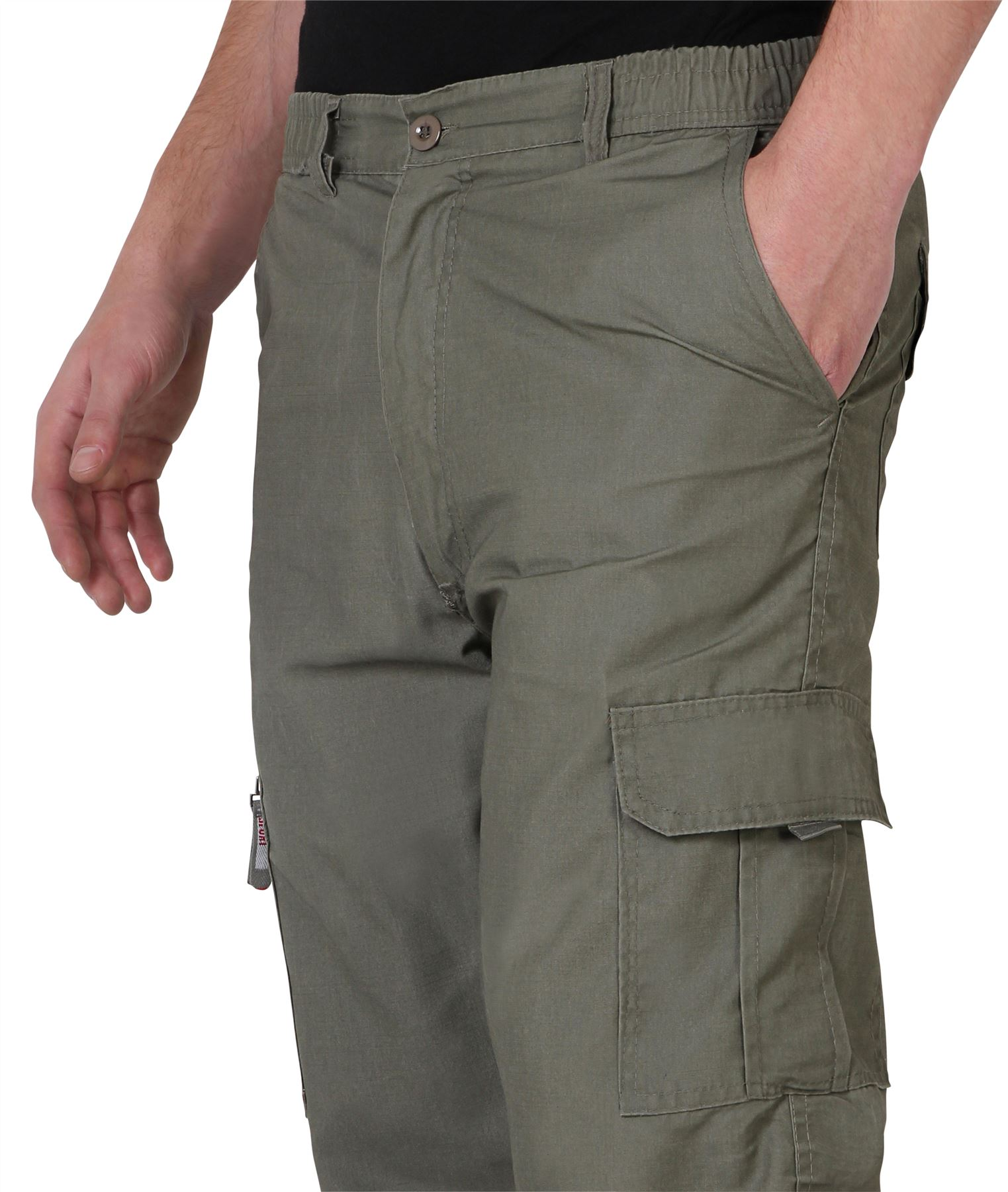 Uomo-Militare-Cargo-Pantaloni-Cotone-Lavoro-Chino-Casual-Kaki miniatura 18