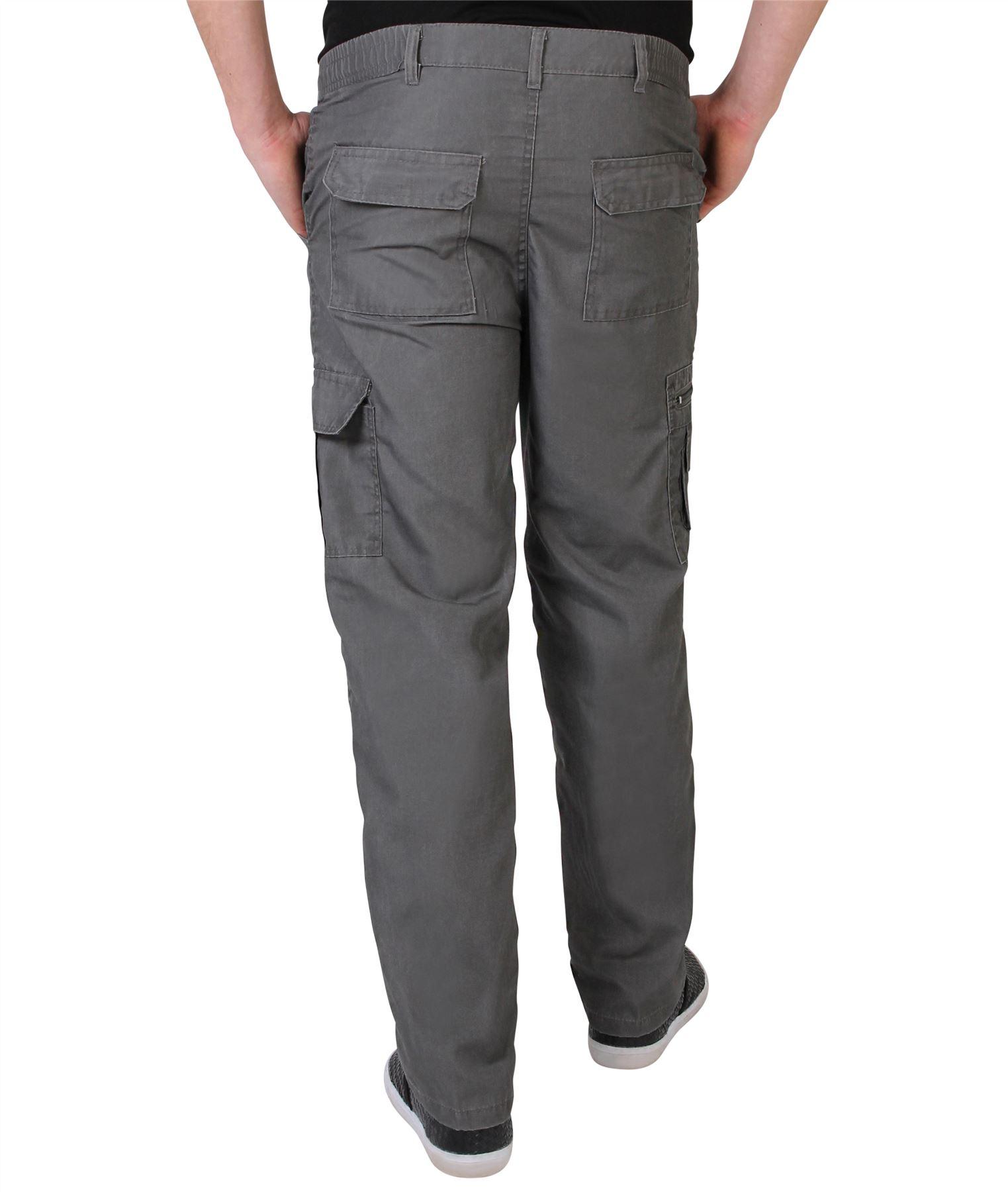 Uomo-Militare-Cargo-Pantaloni-Cotone-Lavoro-Chino-Casual-Kaki miniatura 13