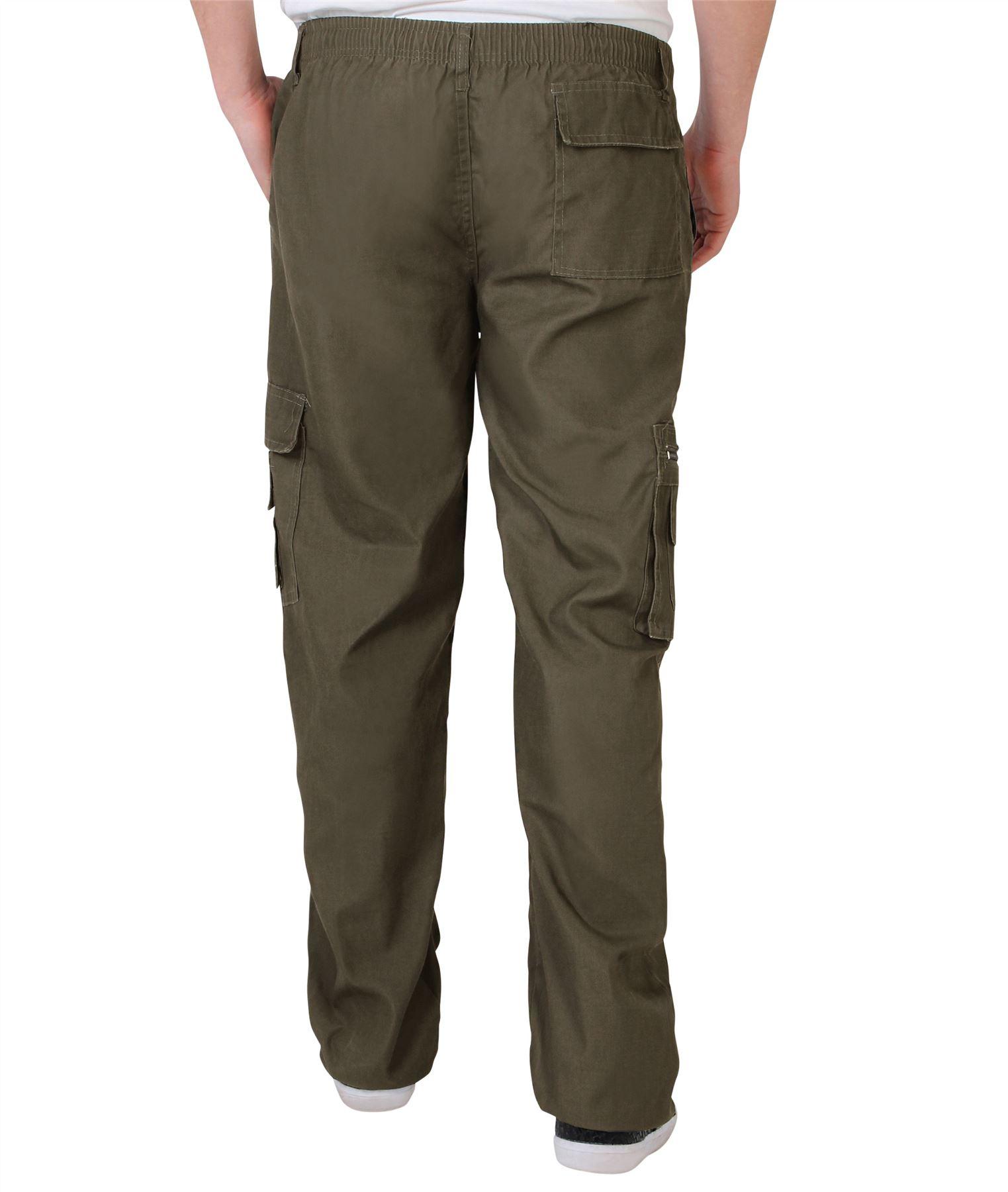 Uomo-Militare-Cargo-Pantaloni-Cotone-Lavoro-Chino-Casual-Kaki miniatura 21