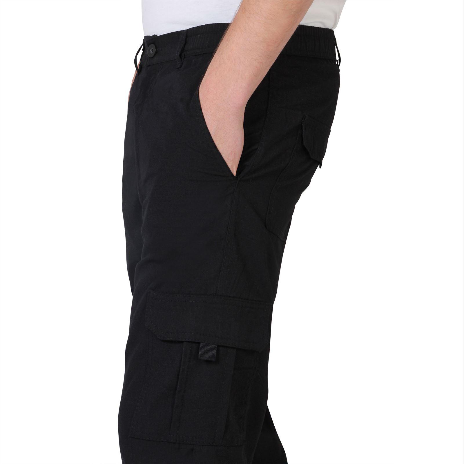 Uomo-Militare-Cargo-Pantaloni-Cotone-Lavoro-Chino-Casual-Kaki miniatura 3