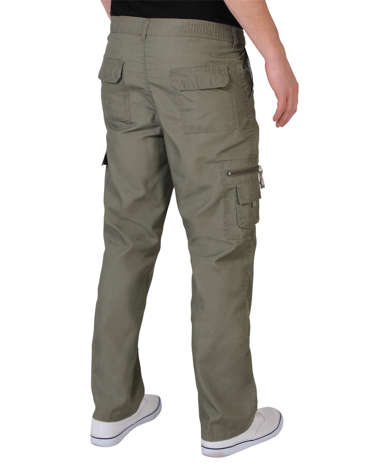 Uomo-Militare-Cargo-Pantaloni-Cotone-Lavoro-Chino-Casual-Kaki miniatura 19