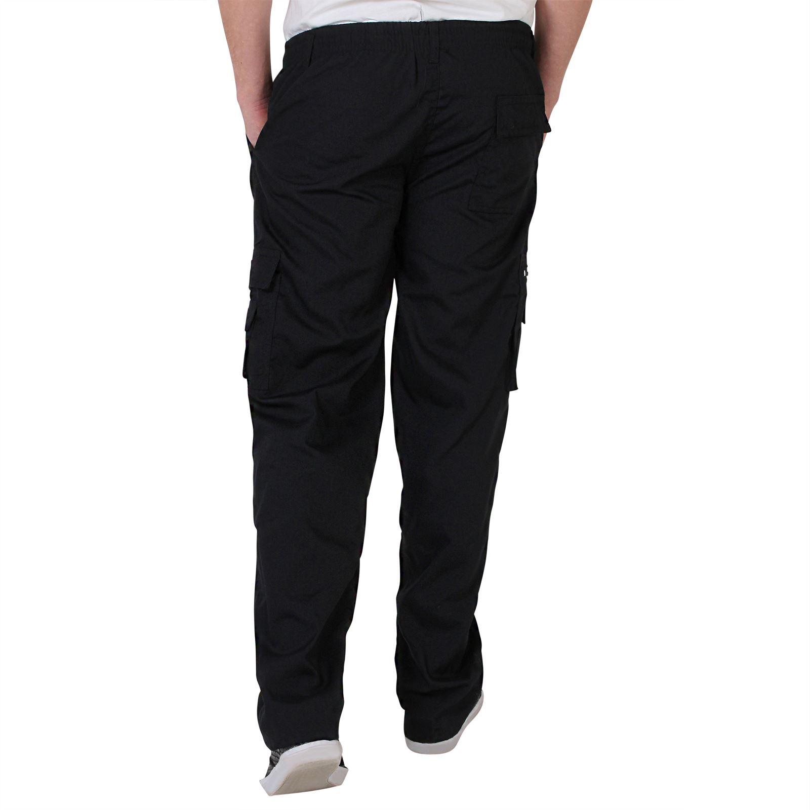 Uomo-Militare-Cargo-Pantaloni-Cotone-Lavoro-Chino-Casual-Kaki miniatura 7