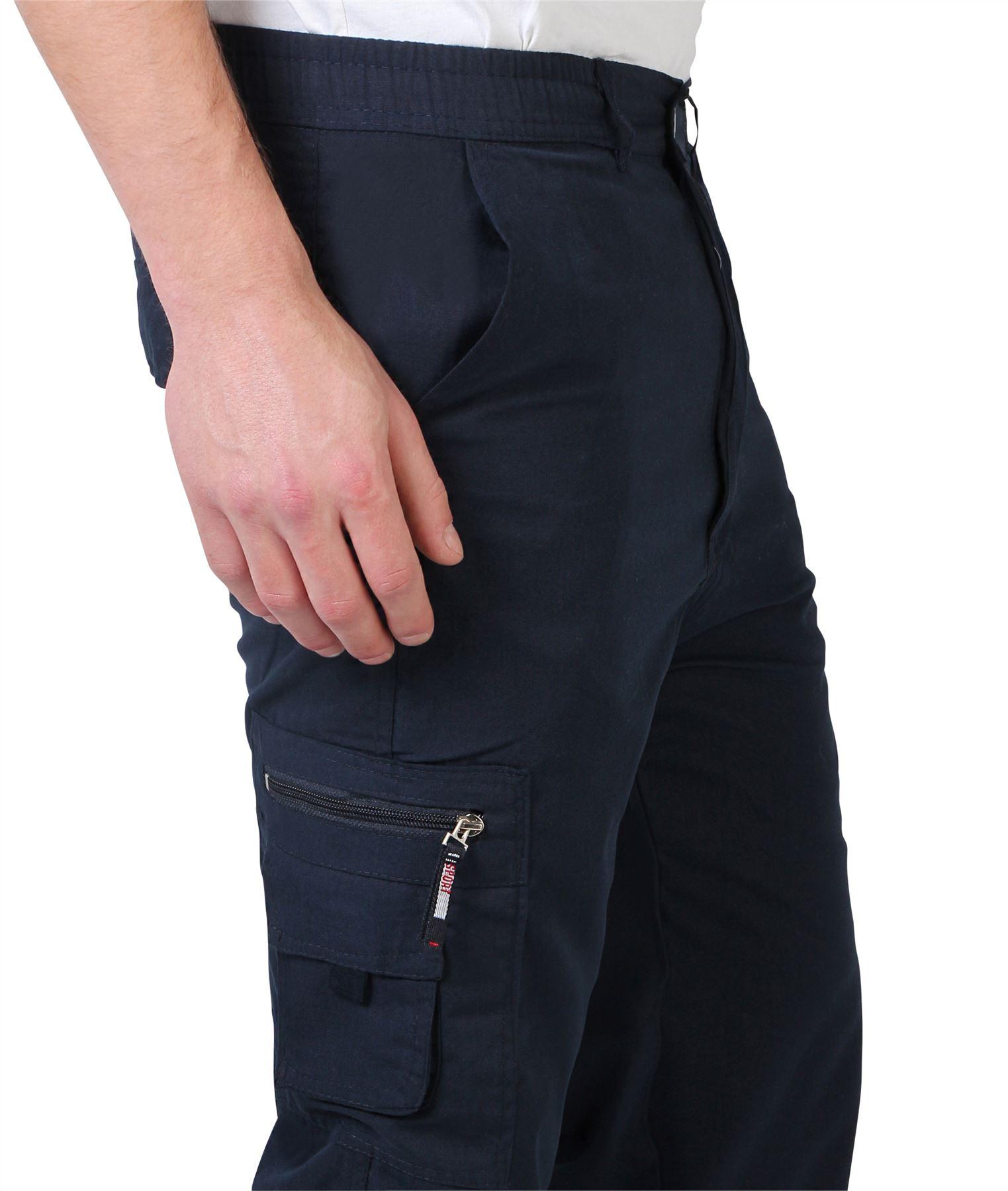 Uomo-Militare-Cargo-Pantaloni-Cotone-Lavoro-Chino-Casual-Kaki miniatura 24