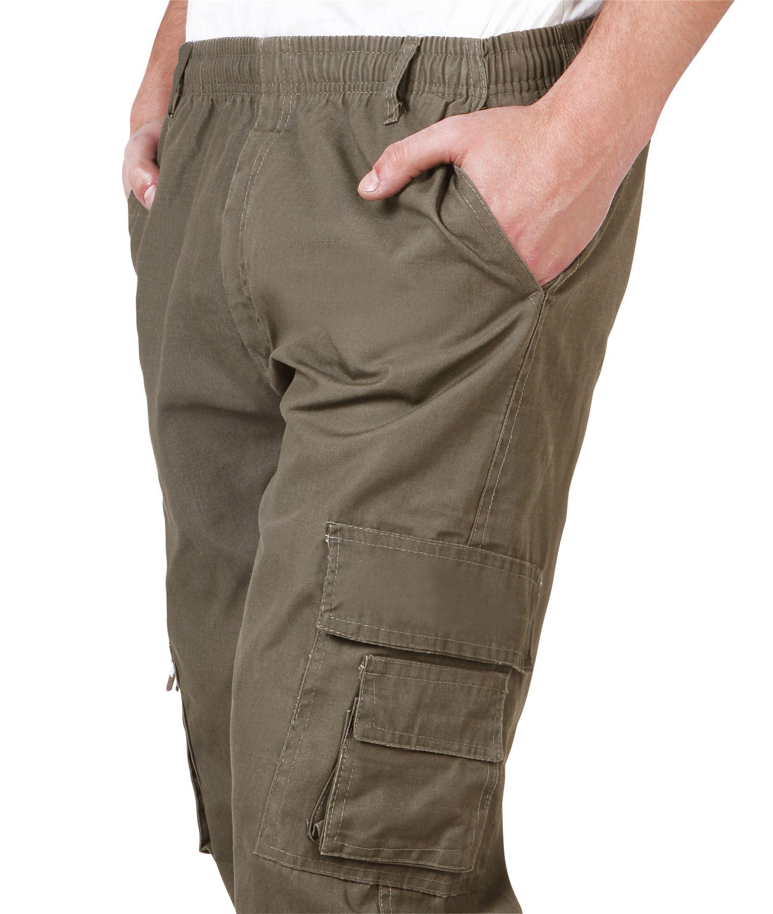 Uomo-Militare-Cargo-Pantaloni-Cotone-Lavoro-Chino-Casual-Kaki miniatura 33