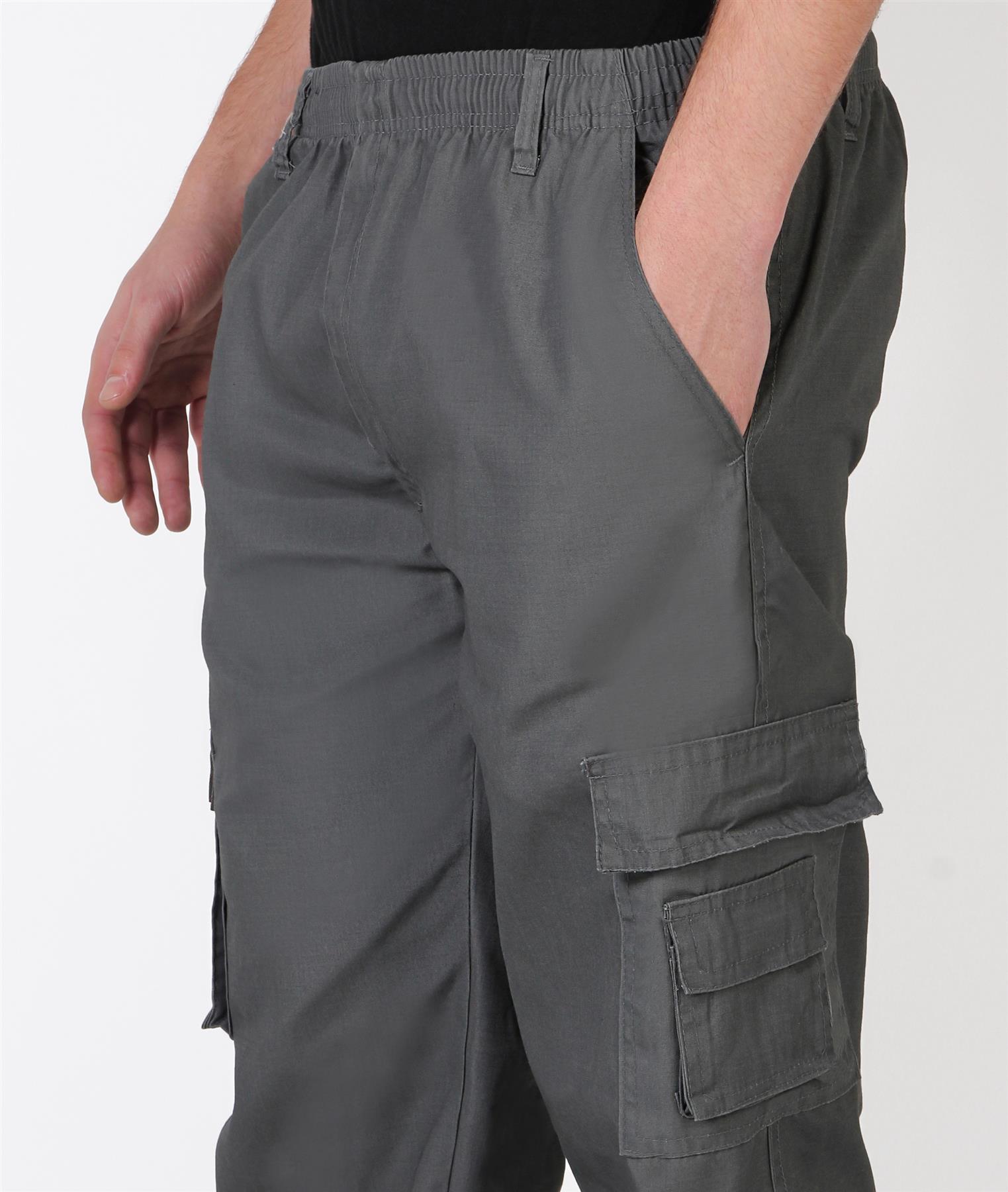 Uomo-Militare-Cargo-Pantaloni-Cotone-Lavoro-Chino-Casual-Kaki miniatura 15