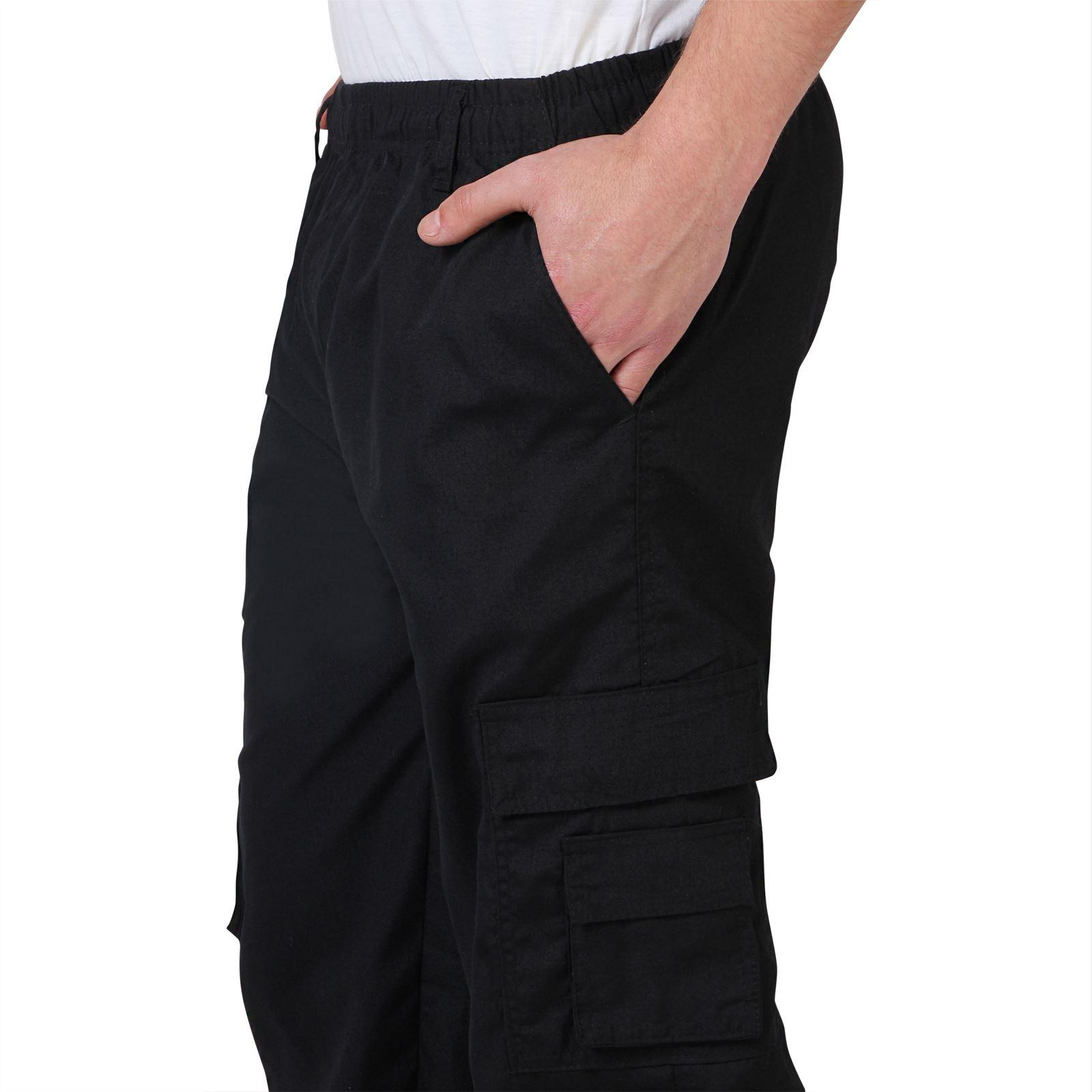 Uomo-Militare-Cargo-Pantaloni-Cotone-Lavoro-Chino-Casual-Kaki miniatura 6