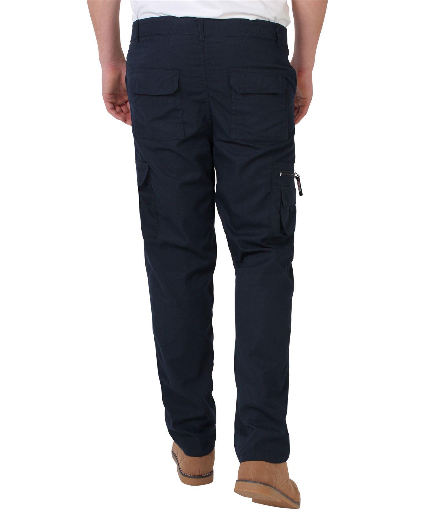 Uomo-Militare-Cargo-Pantaloni-Cotone-Lavoro-Chino-Casual-Kaki miniatura 25
