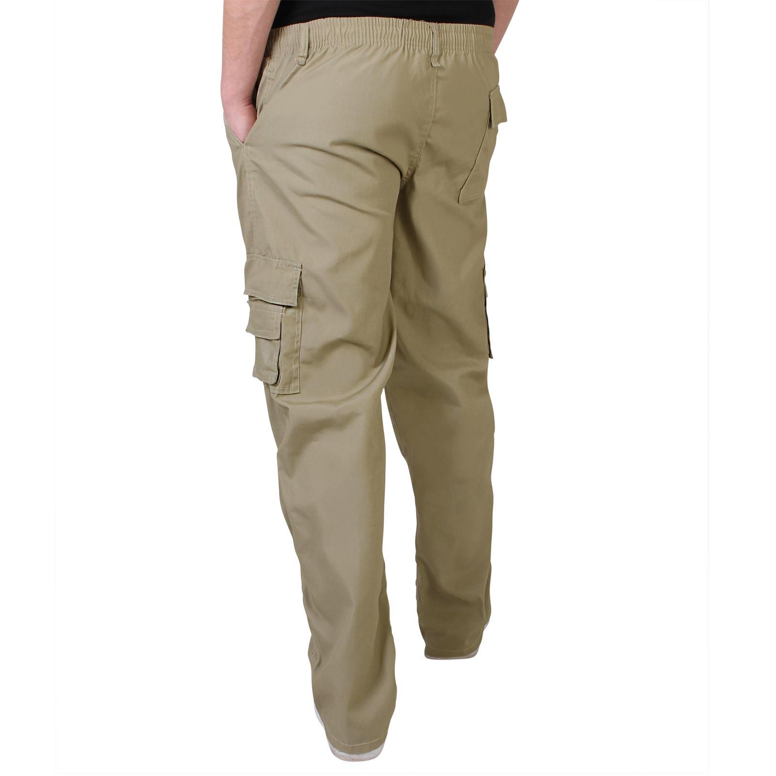 Uomo-Militare-Cargo-Pantaloni-Cotone-Lavoro-Chino-Casual-Kaki miniatura 31