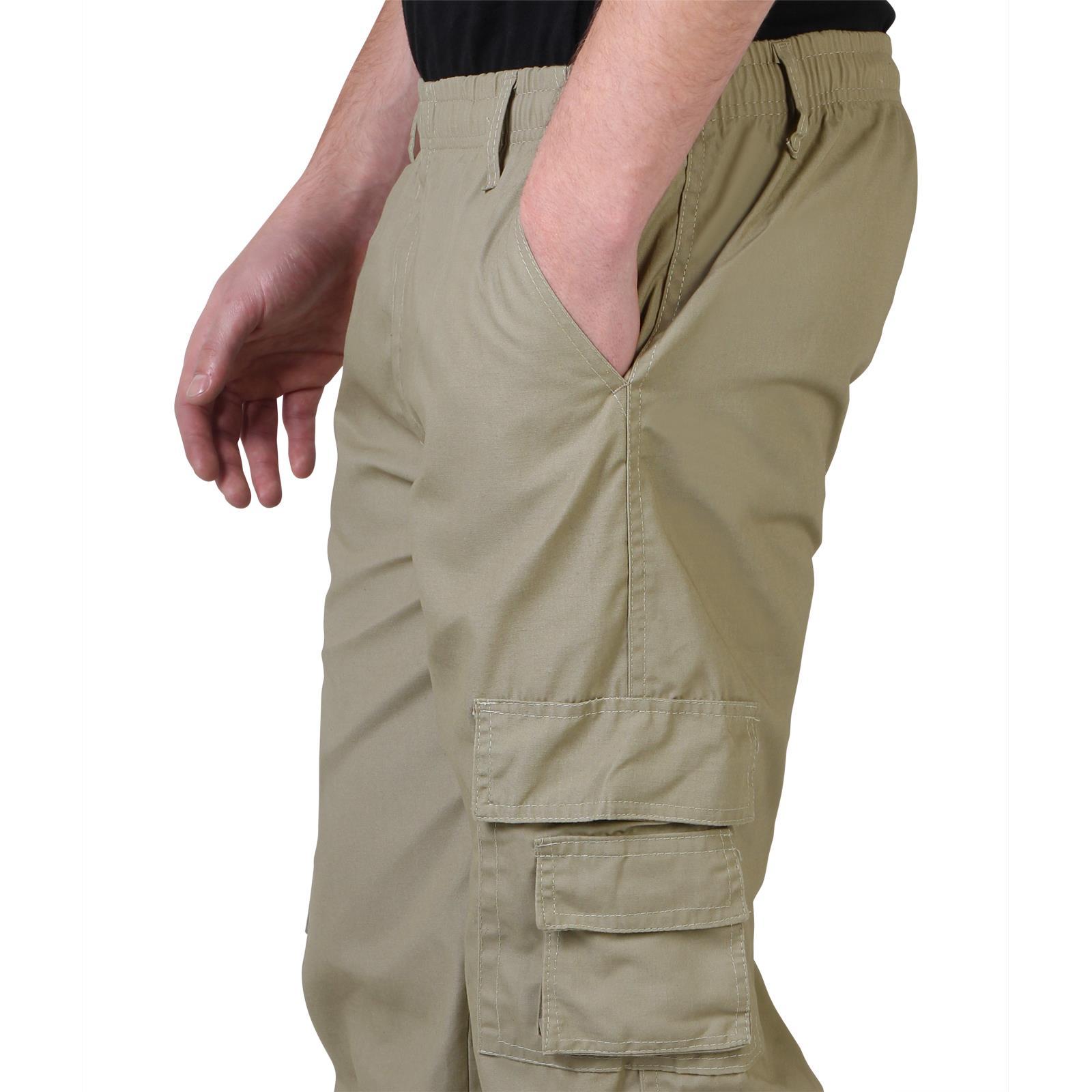 Uomo-Militare-Cargo-Pantaloni-Cotone-Lavoro-Chino-Casual-Kaki miniatura 30