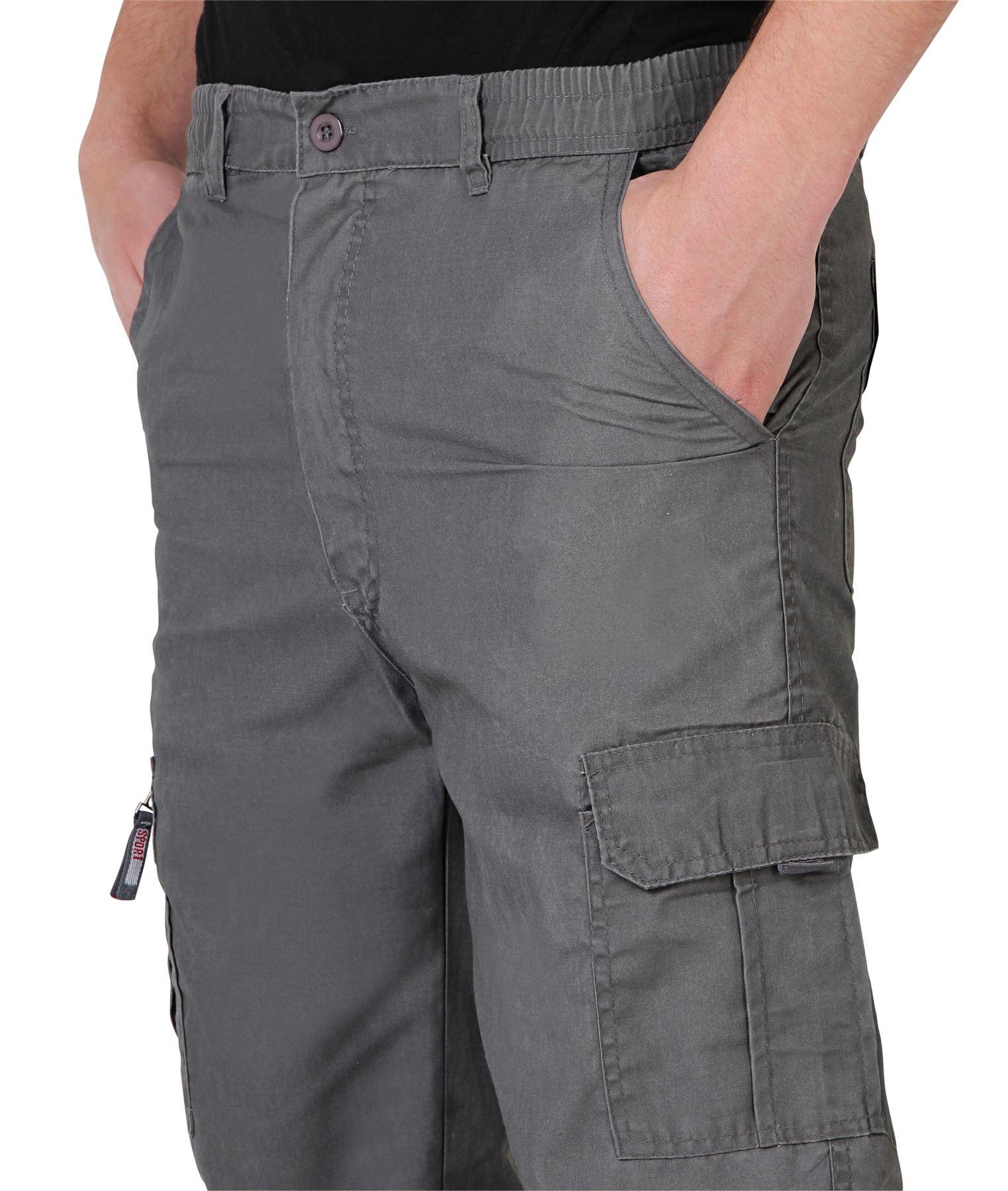 Uomo-Militare-Cargo-Pantaloni-Cotone-Lavoro-Chino-Casual-Kaki miniatura 12