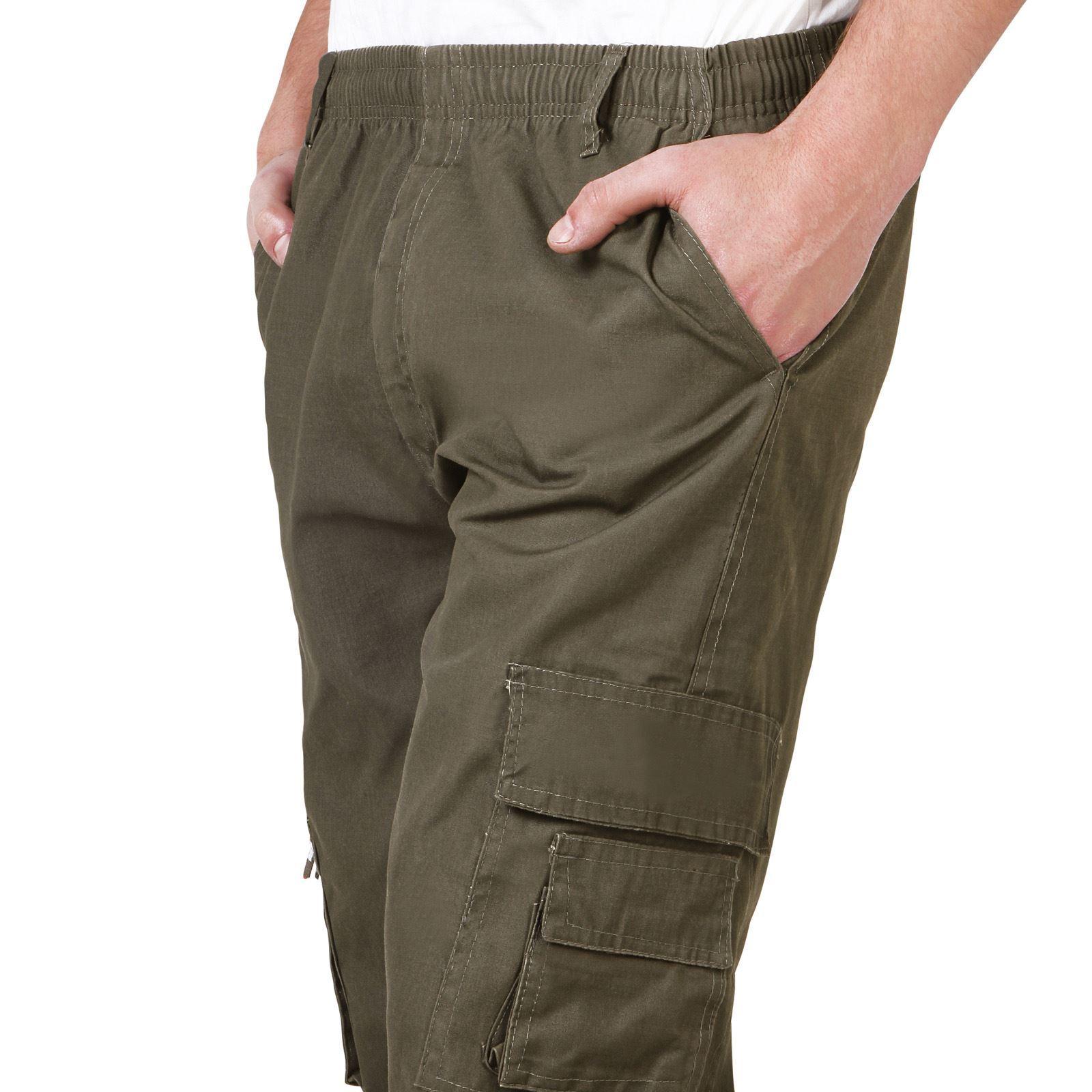 Uomo-Militare-Cargo-Pantaloni-Cotone-Lavoro-Chino-Casual-Kaki miniatura 22