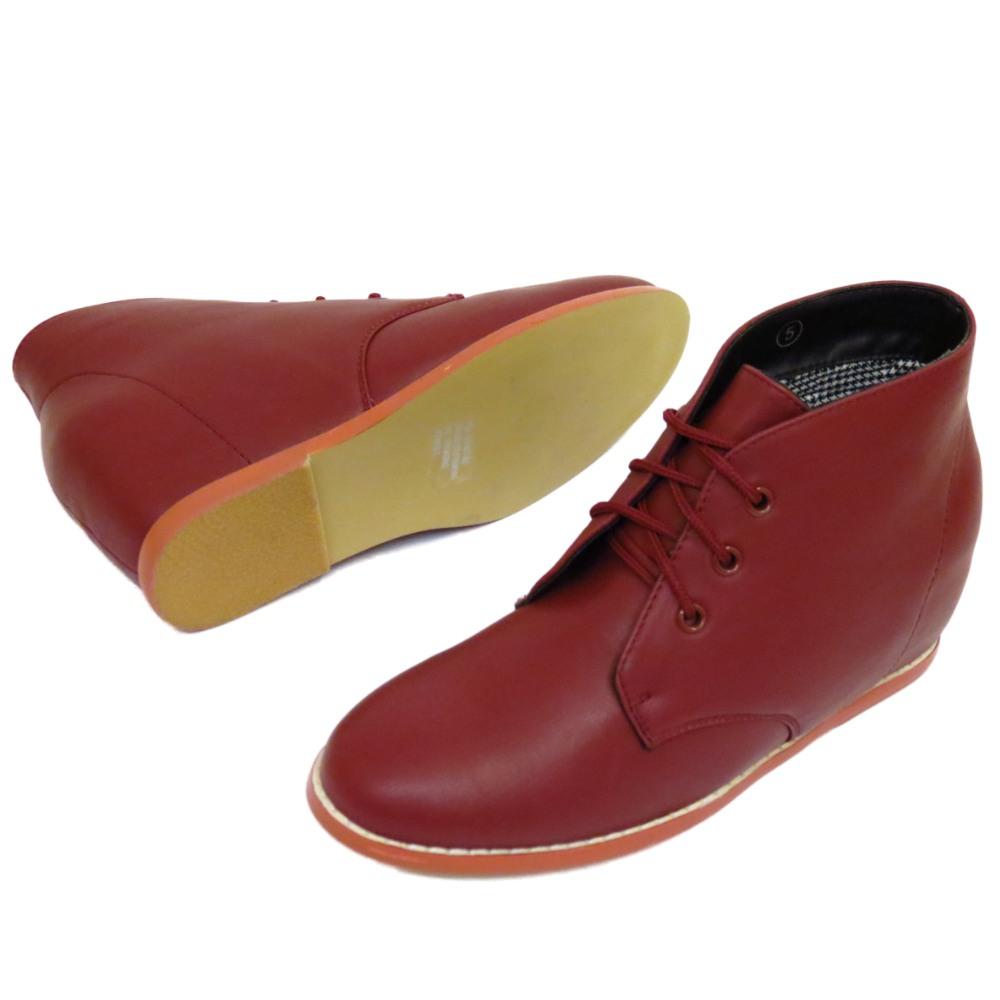 Damen Dolcis Burgund Wüste versteckter Keil zum Schnüren Stiefeletten Schuhe
