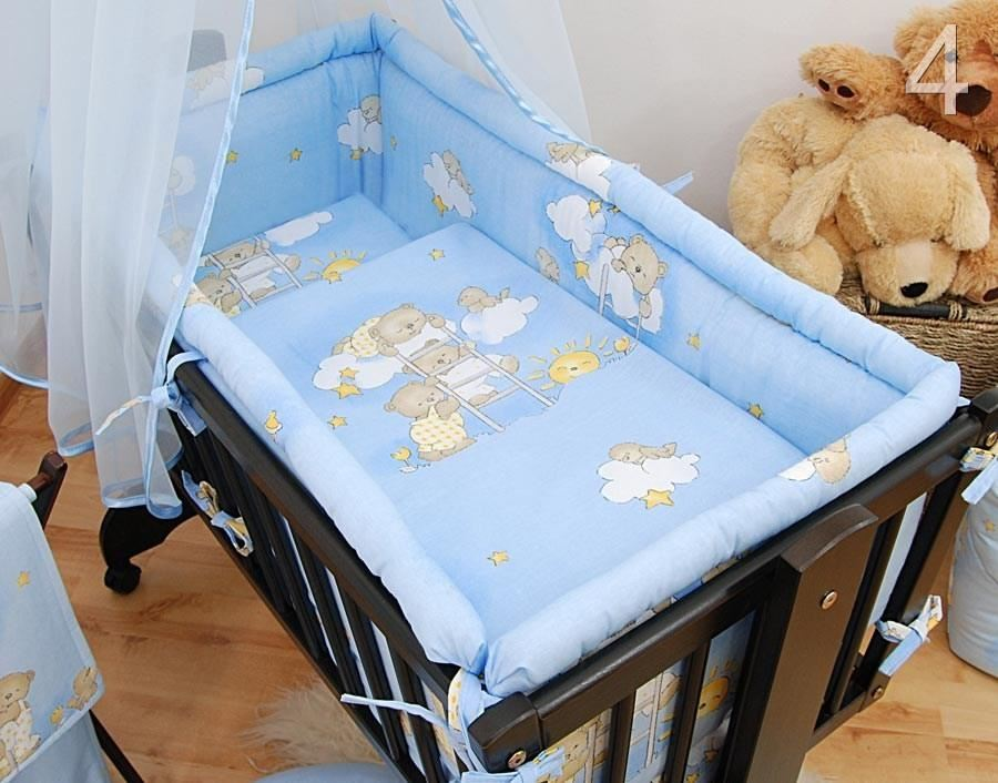 7 pce wiege baby bettw sche set 90 x 40 sonnendach fassungen schaukel ebay. Black Bedroom Furniture Sets. Home Design Ideas