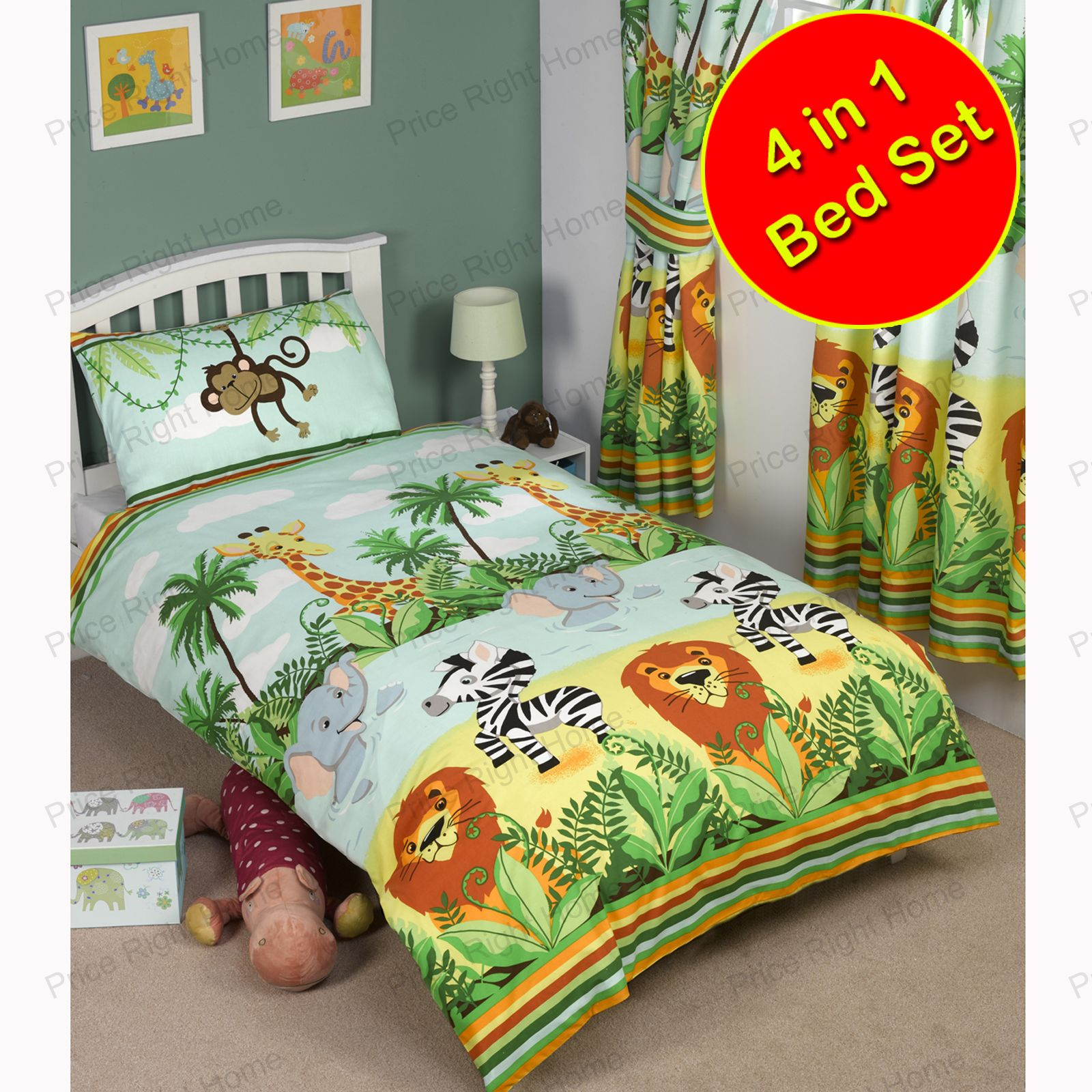 Jungle-Tastic GAMMA camera da letto ragazzi Single, doppio, & TENDE ...