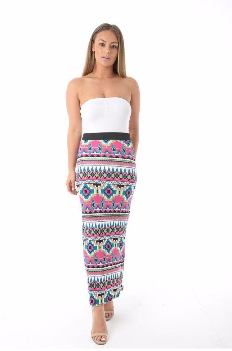 Femmes multi imprimé élastique taille haute stretch Maxi longue jupe femme 8-26