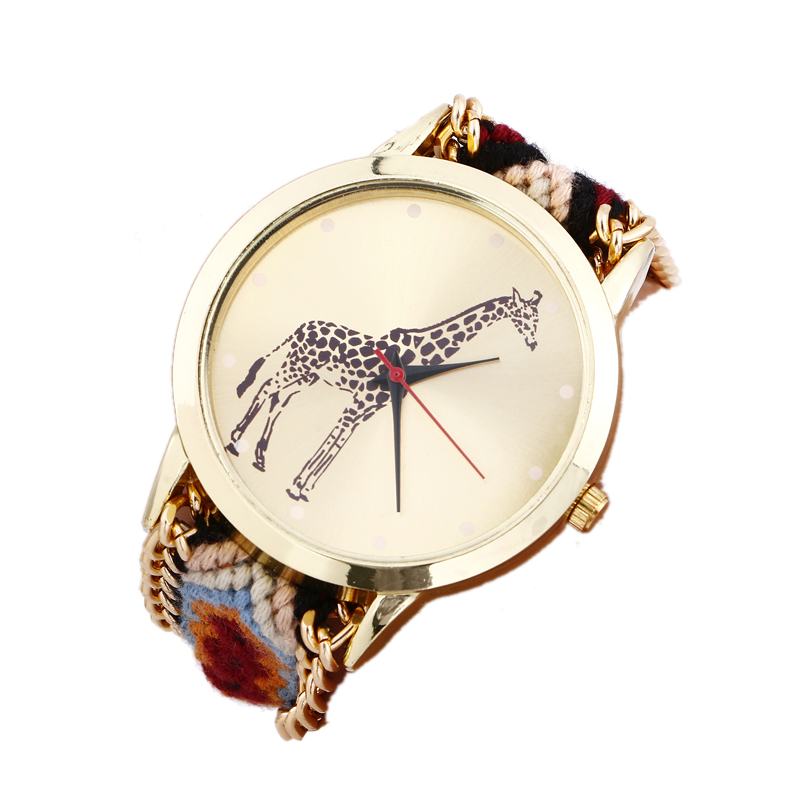 New Giraffe Pattern Weaved Rope Band Bracelet Quartz Dial Watch Tide