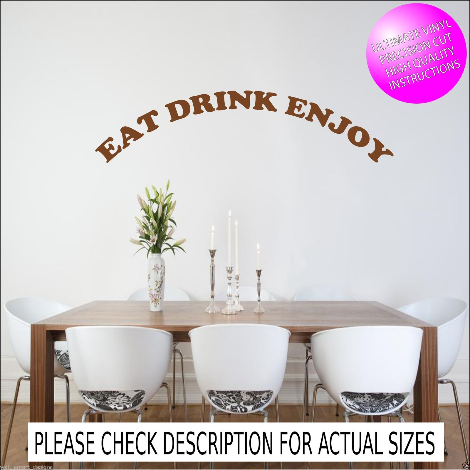 Family home quote rules vinyl wall art sticker mural decal home - Eat Drink Enjoy Kitchen Wall Quote Sticker Mural Decal