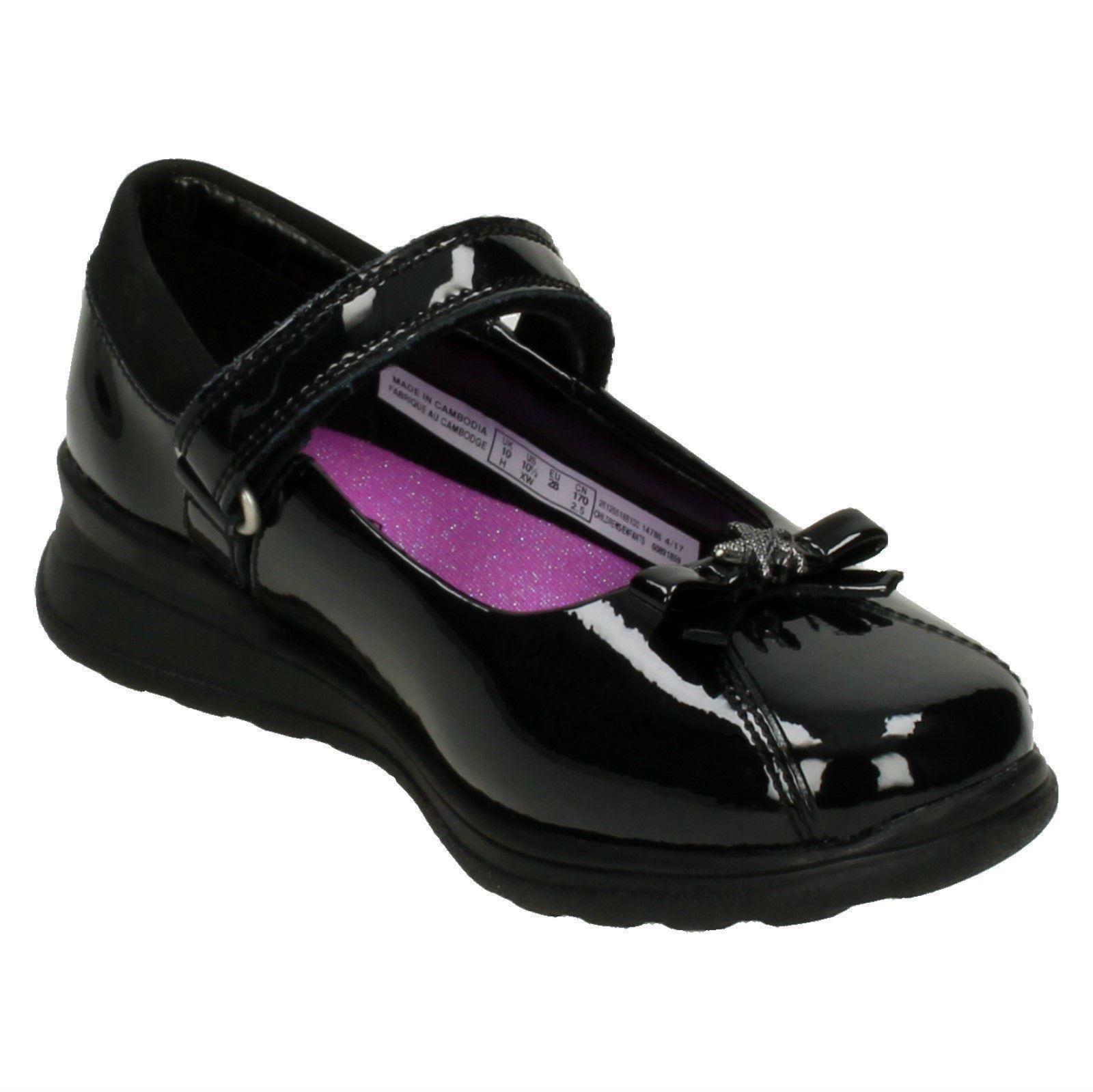 /'Girls Gloforms By Clarks/' Bow Trim School Shoes Mariel Wish Inf
