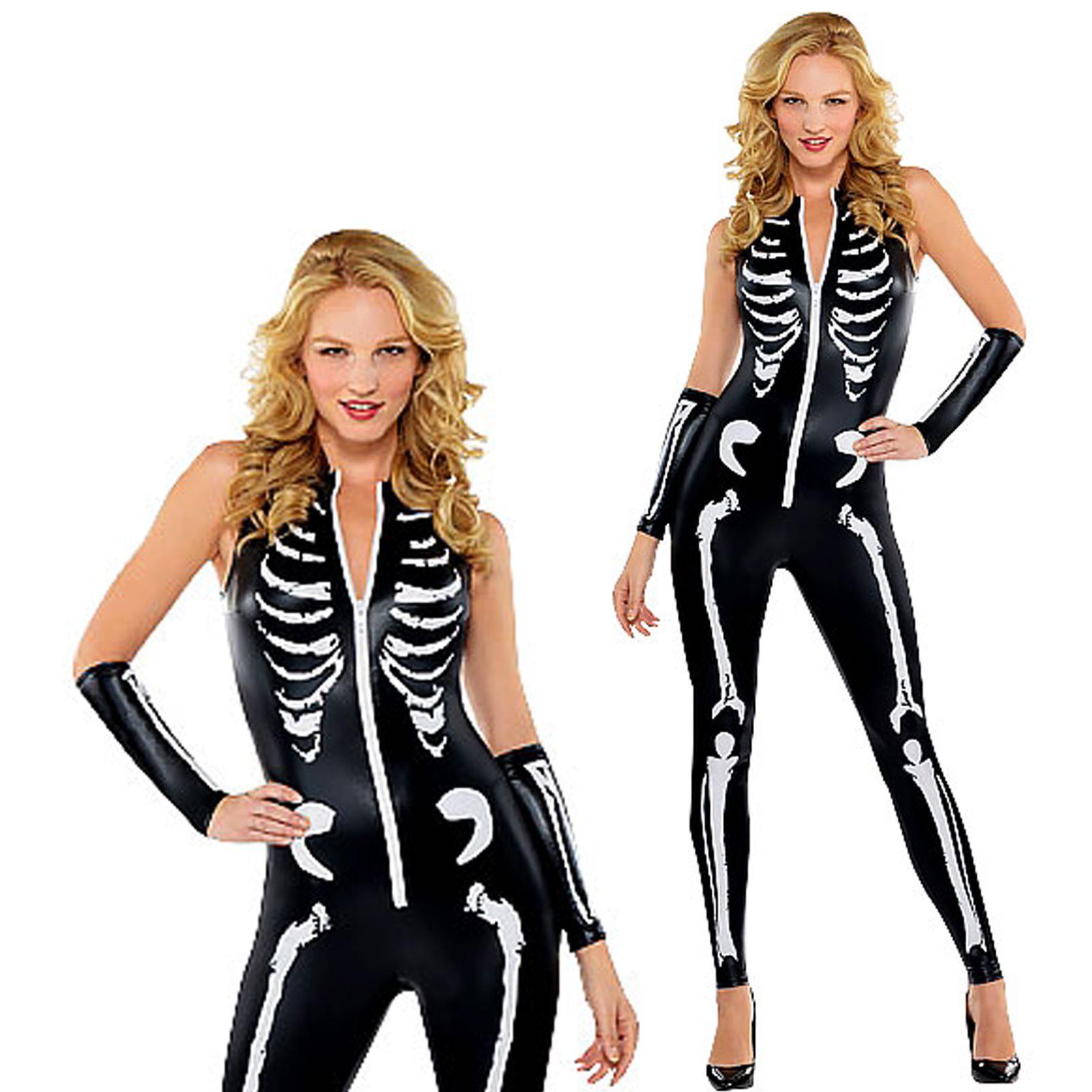 erwachsene damen damen sexy skelett catsuit k rperanzug halloween kost m ebay. Black Bedroom Furniture Sets. Home Design Ideas