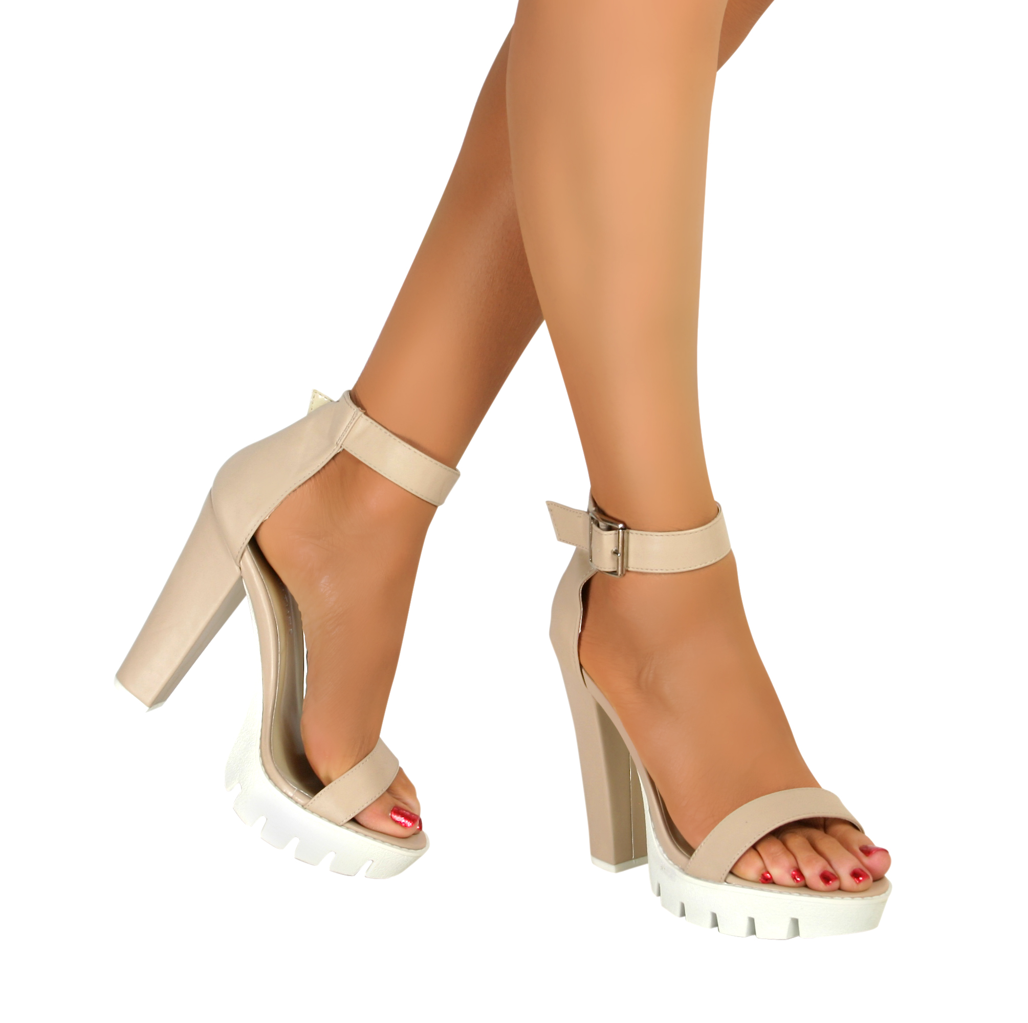 Ladies Chunky High Heel Summer Sandal Cleated Sole Platform Ankle