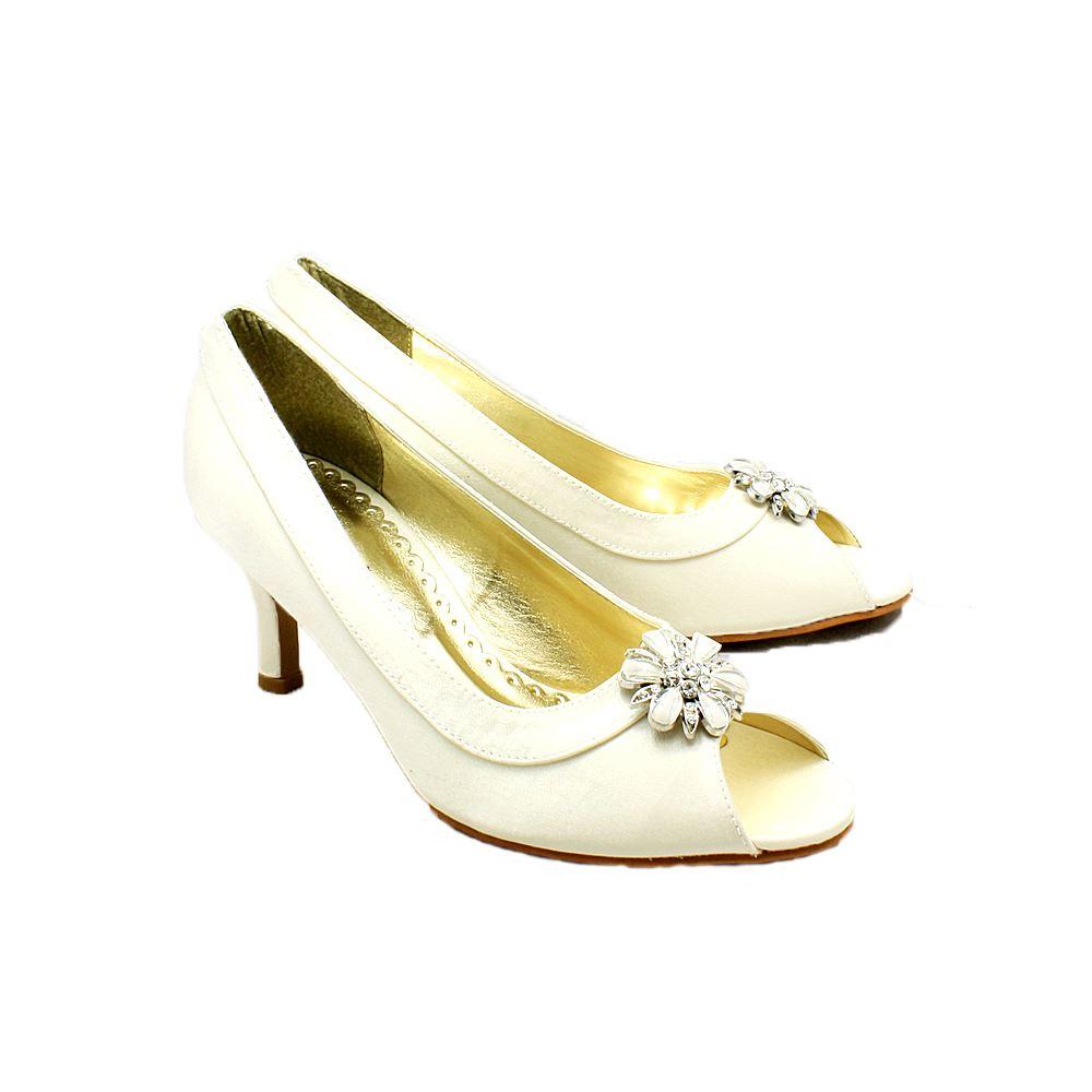 Satin Bordeaux Ovale Bout Ouvert Chaussures De Soirée À Talons Bas Avec Perles Broche Strass 2bTY8