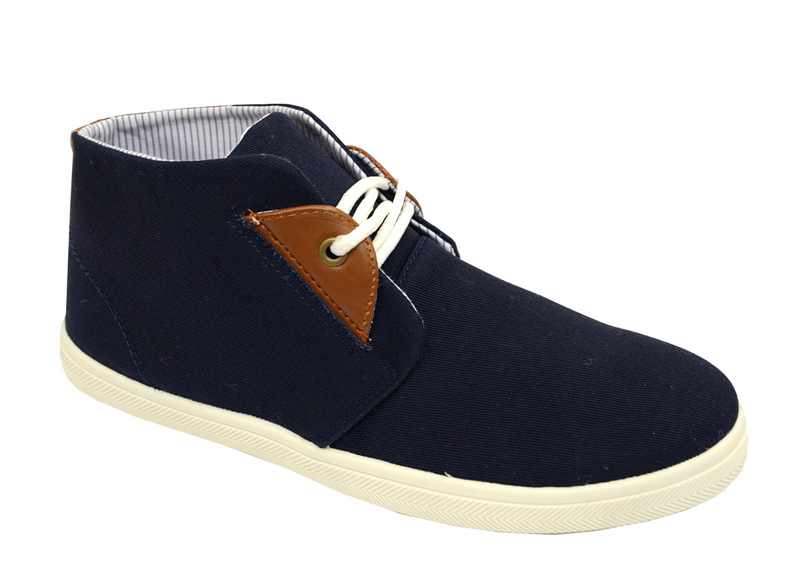 Herren marine zum Schnüren WÜSTE Leinen lässig elegant Stiefeletten Hohe Schuhe
