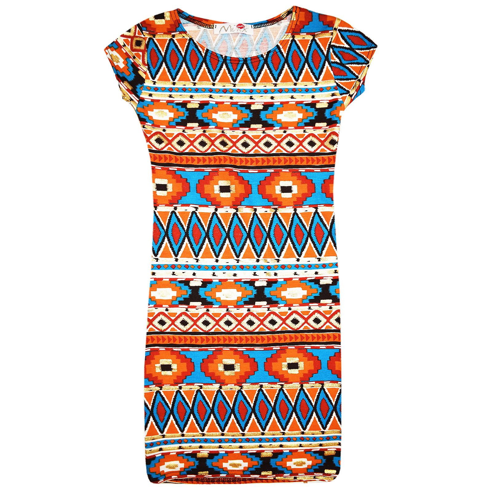 Girls Aztec Tribal Foil Print Skater Midi Dress Crop Top ...