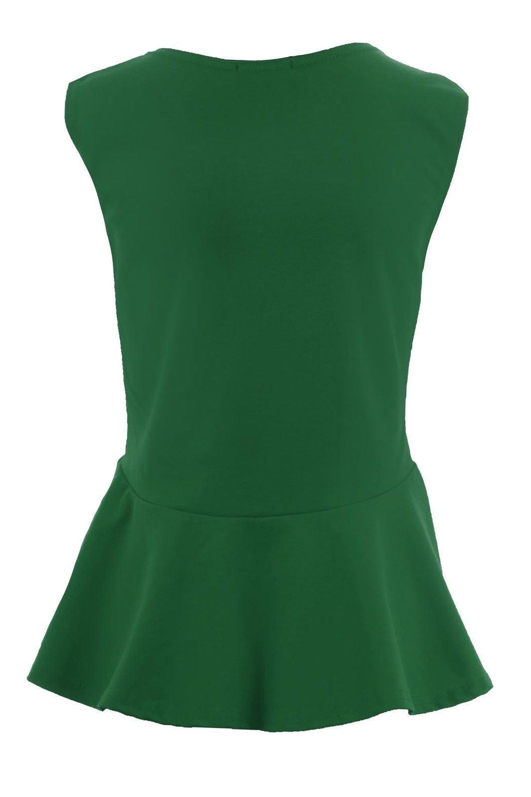 Donna-Girocollo-senza-Maniche-Frill-Turno-Peplo-Giubbotto-Semplice-T-Shirt-Top miniatura 8