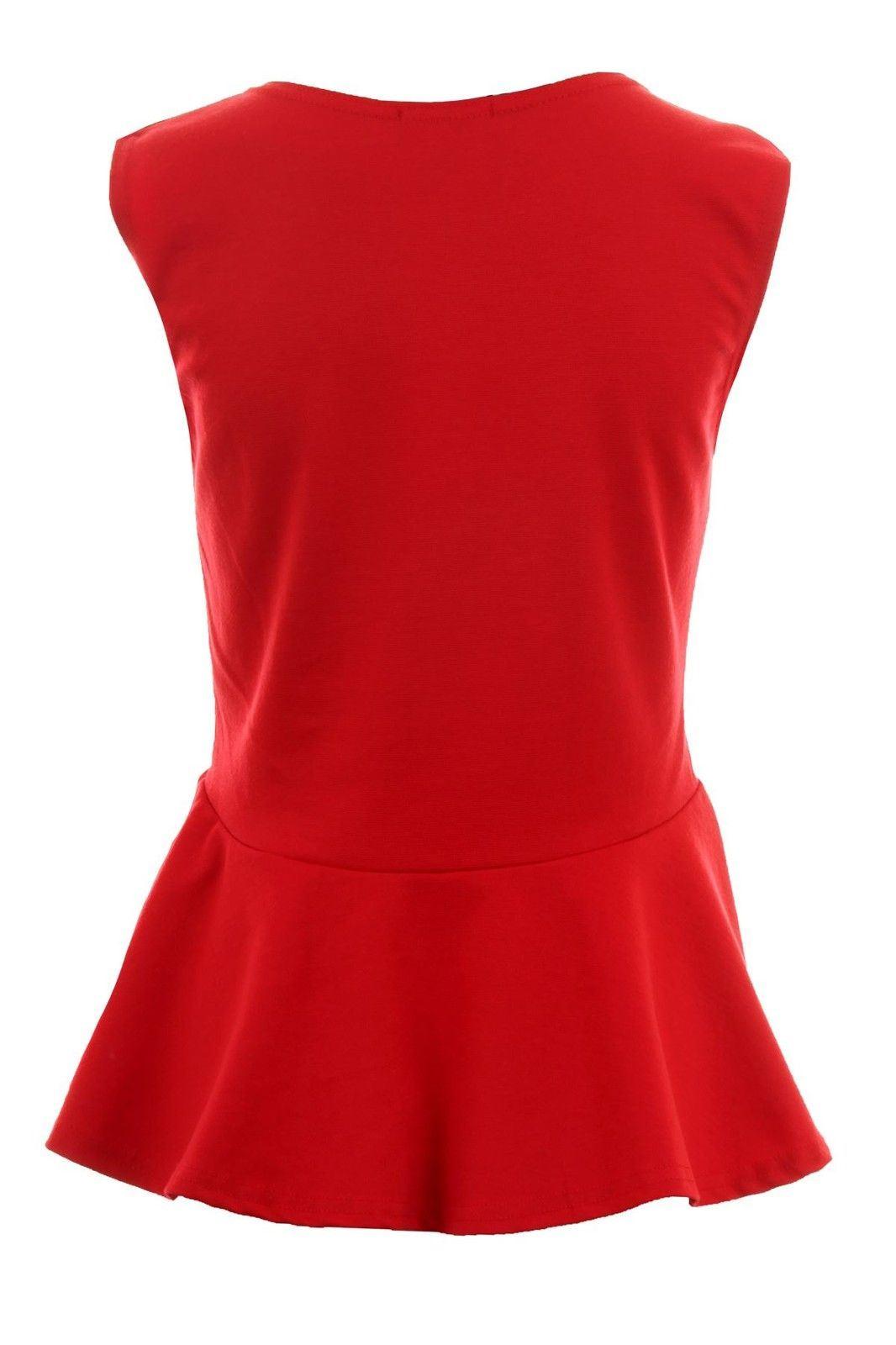 Donna-Girocollo-senza-Maniche-Frill-Turno-Peplo-Giubbotto-Semplice-T-Shirt-Top miniatura 12
