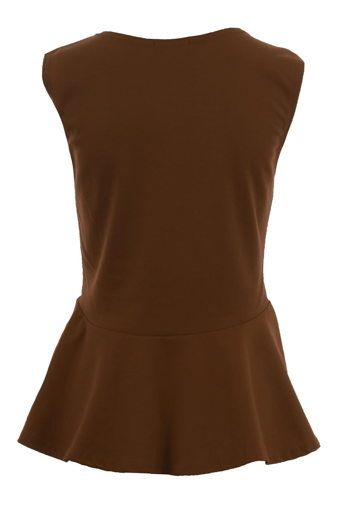 Donna-Girocollo-senza-Maniche-Frill-Turno-Peplo-Giubbotto-Semplice-T-Shirt-Top miniatura 10