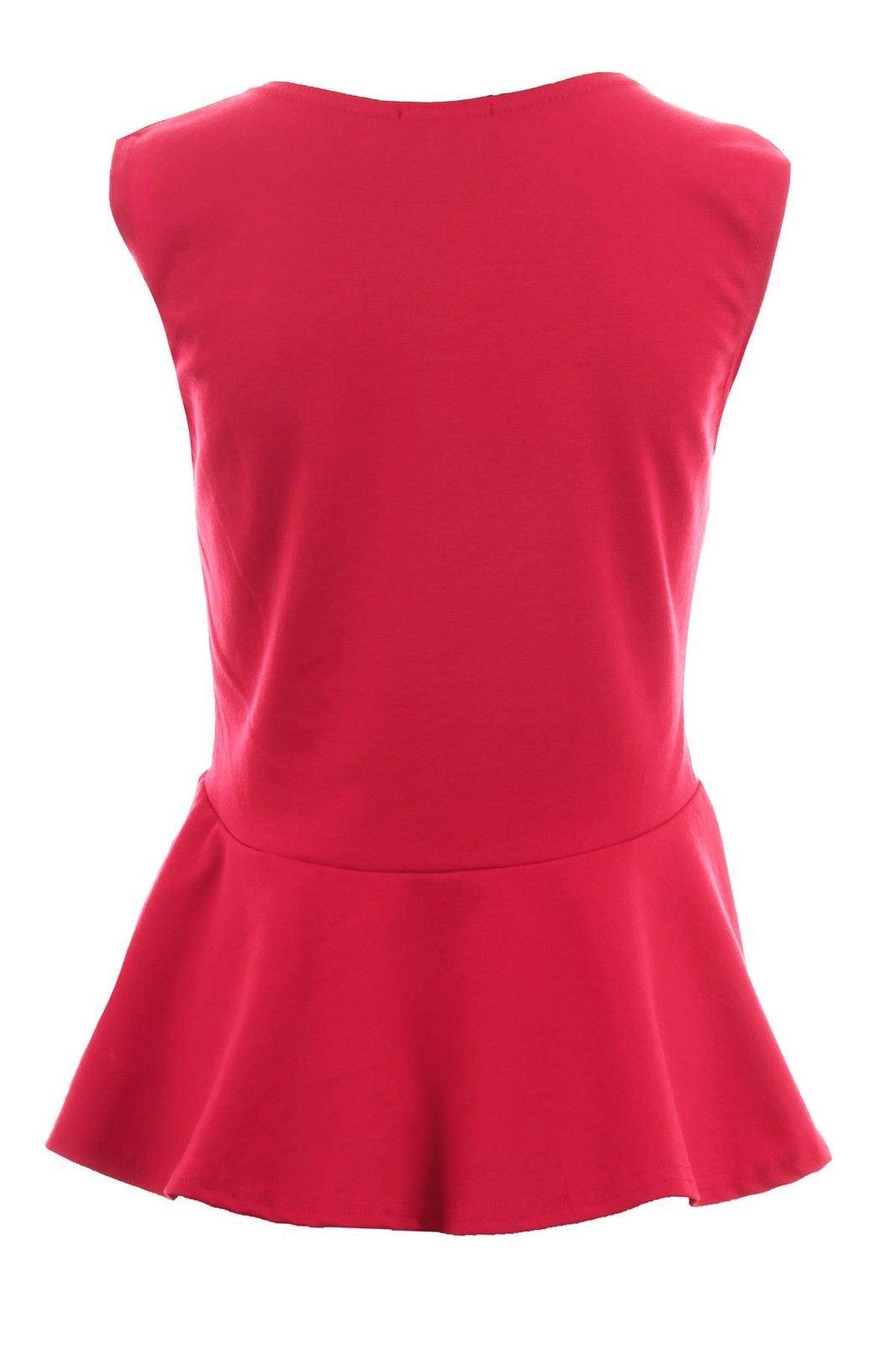 Donna-Girocollo-senza-Maniche-Frill-Turno-Peplo-Giubbotto-Semplice-T-Shirt-Top miniatura 6