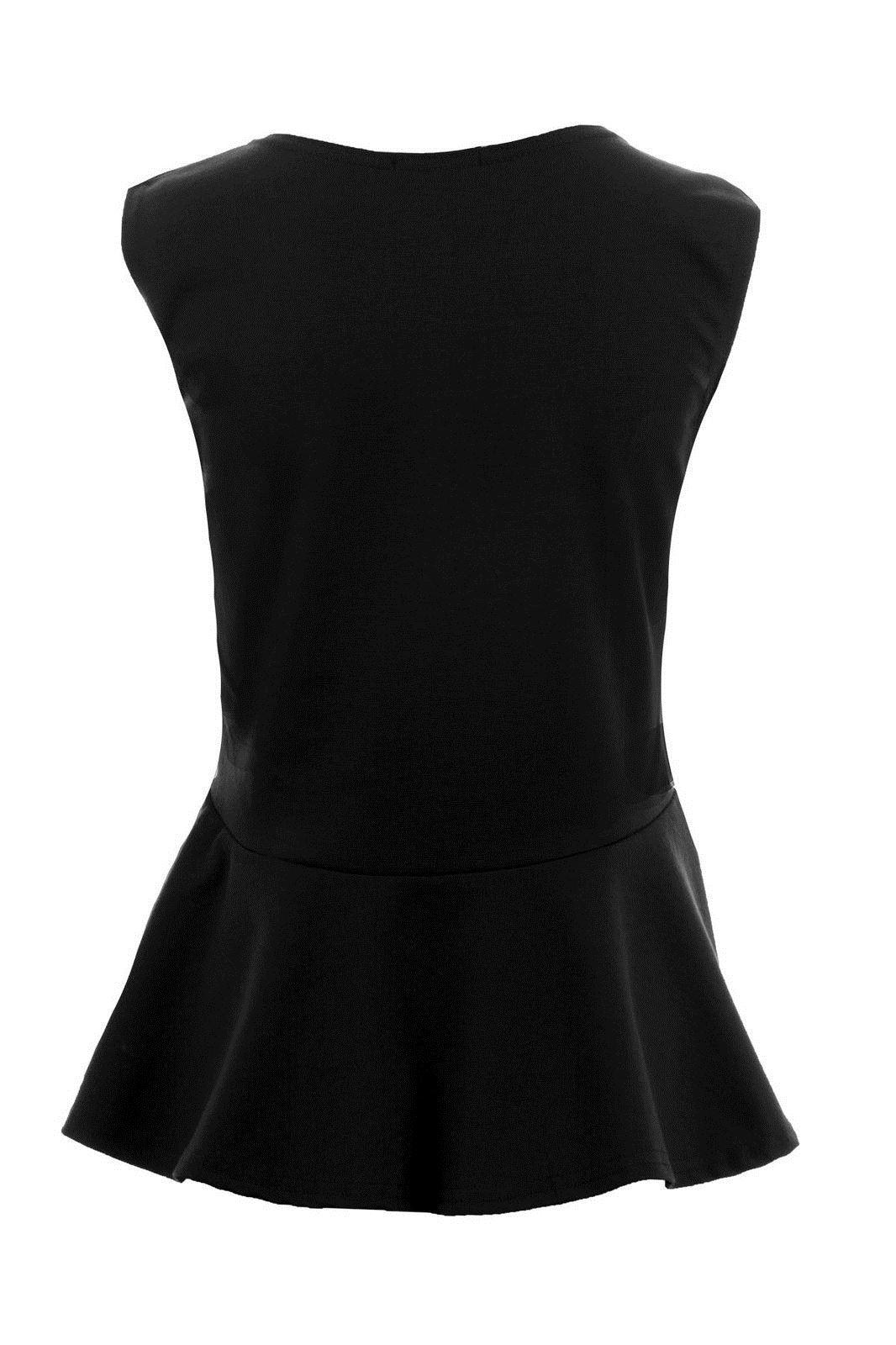 Donna-Girocollo-senza-Maniche-Frill-Turno-Peplo-Giubbotto-Semplice-T-Shirt-Top miniatura 3