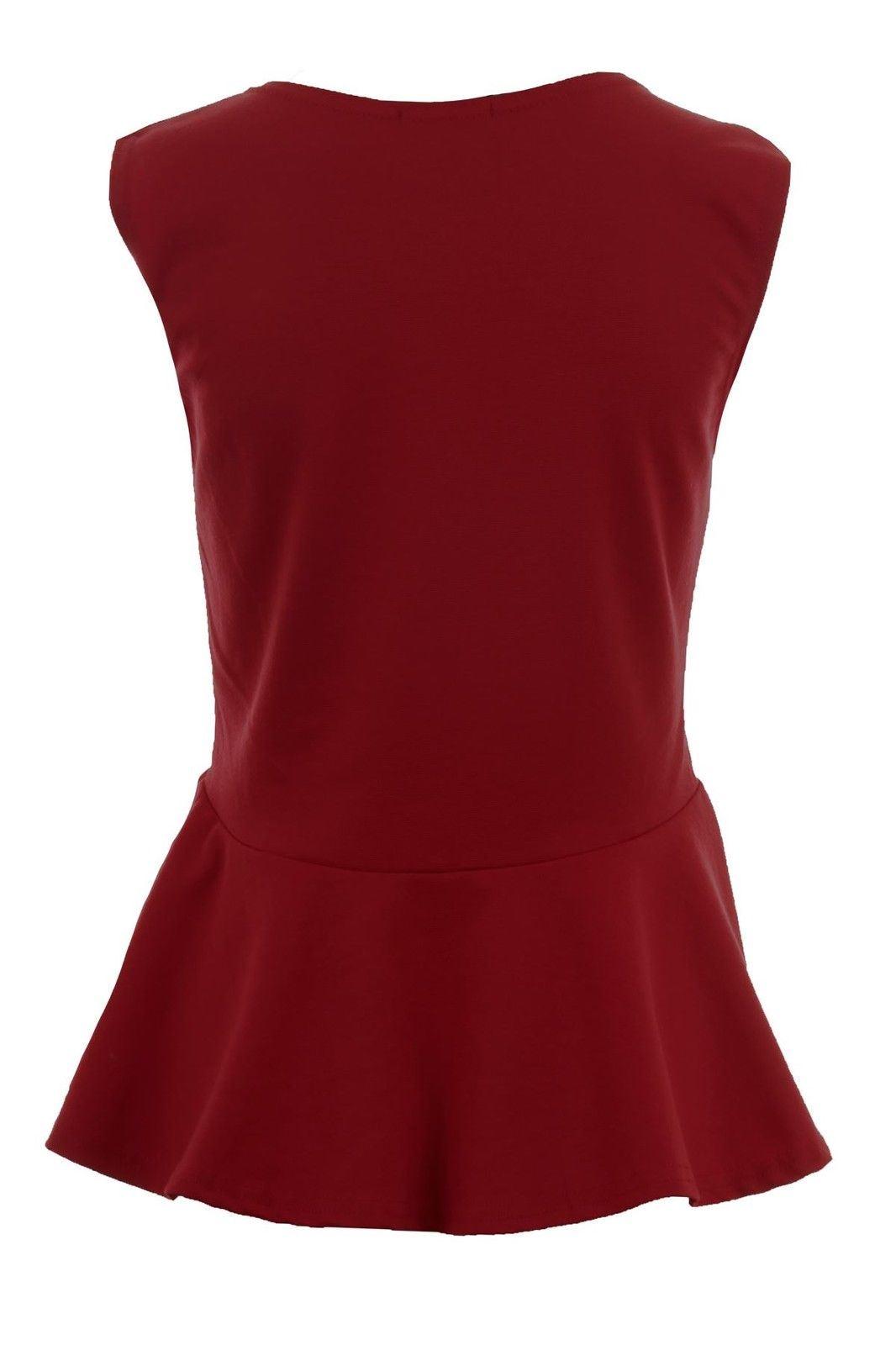 Donna-Girocollo-senza-Maniche-Frill-Turno-Peplo-Giubbotto-Semplice-T-Shirt-Top miniatura 16