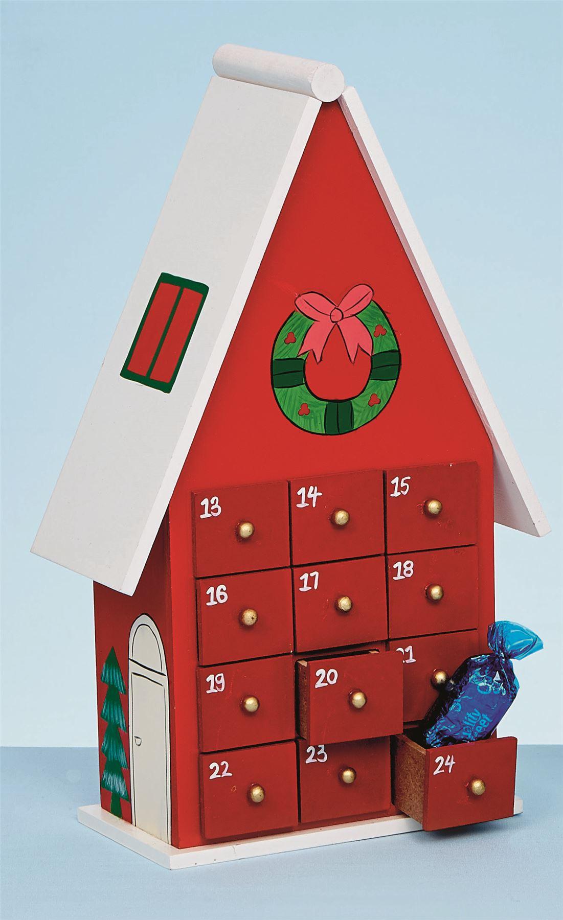 26cm-en-bois-vert-rouge-avent-maison-de-fete-Calendrier-Decoration-Noel