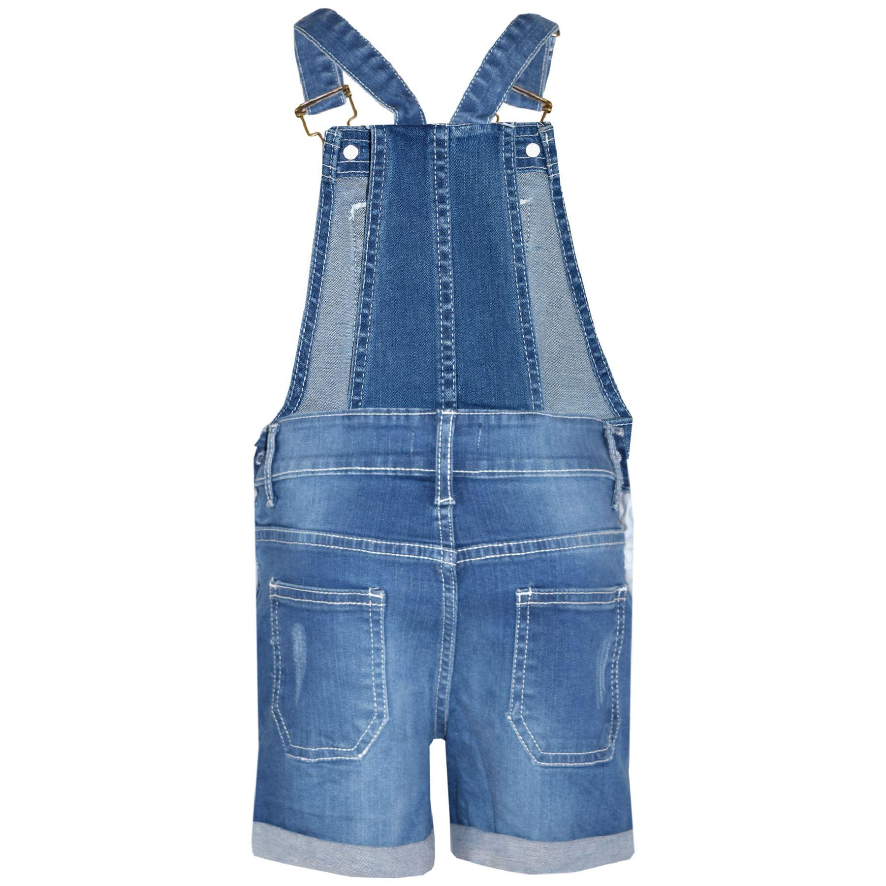 Indexbild 13 - Kinder Mädchen Latzhose Shorts Denim Gerippt Stretch Jeans Overall 5-13 Jahr