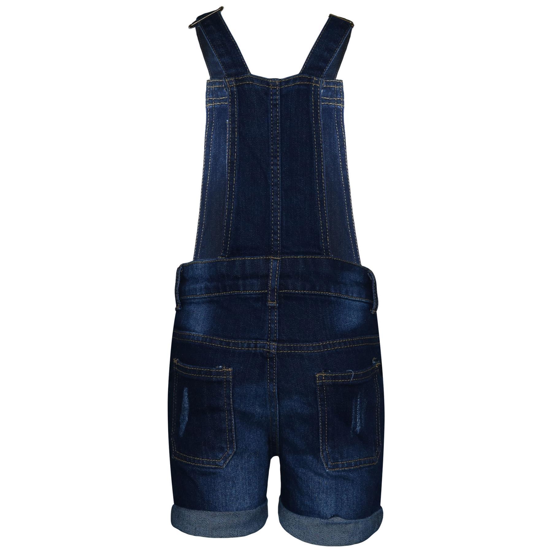 Indexbild 8 - Kinder Mädchen Latzhose Shorts Denim Gerippt Stretch Jeans Overall 5-13 Jahr