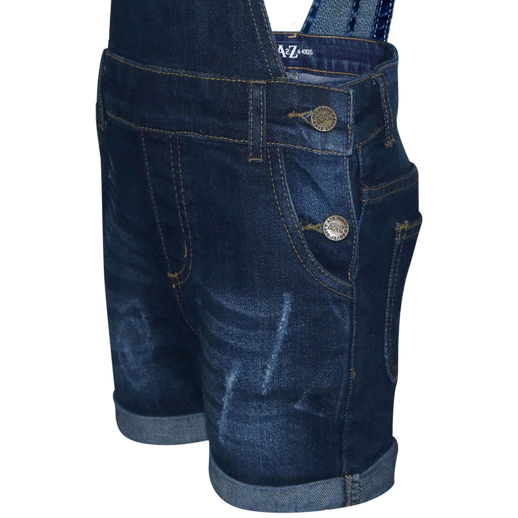 Indexbild 11 - Kinder Mädchen Latzhose Shorts Denim Gerippt Stretch Jeans Overall 5-13 Jahr