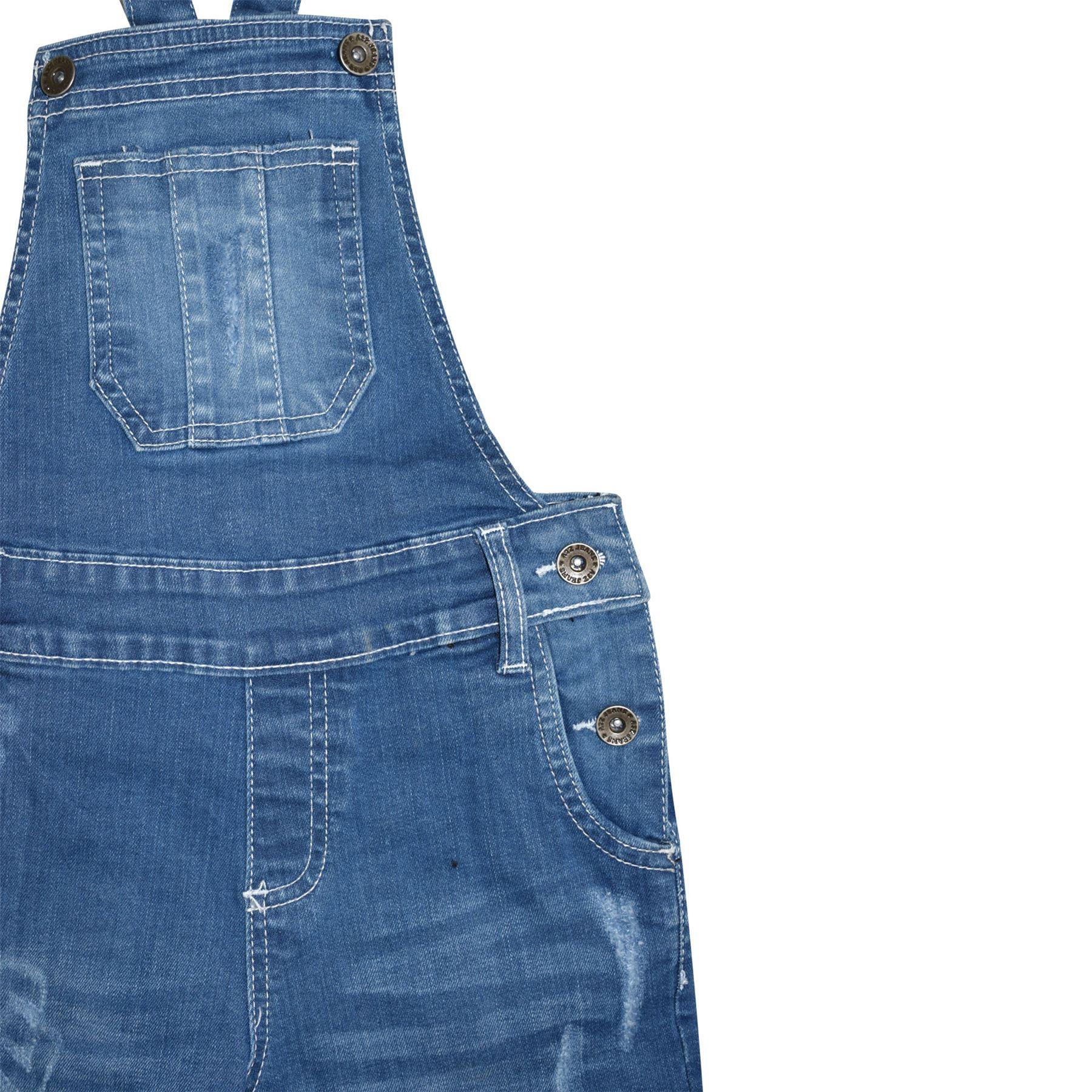 Indexbild 15 - Kinder Mädchen Latzhose Shorts Denim Gerippt Stretch Jeans Overall 5-13 Jahr