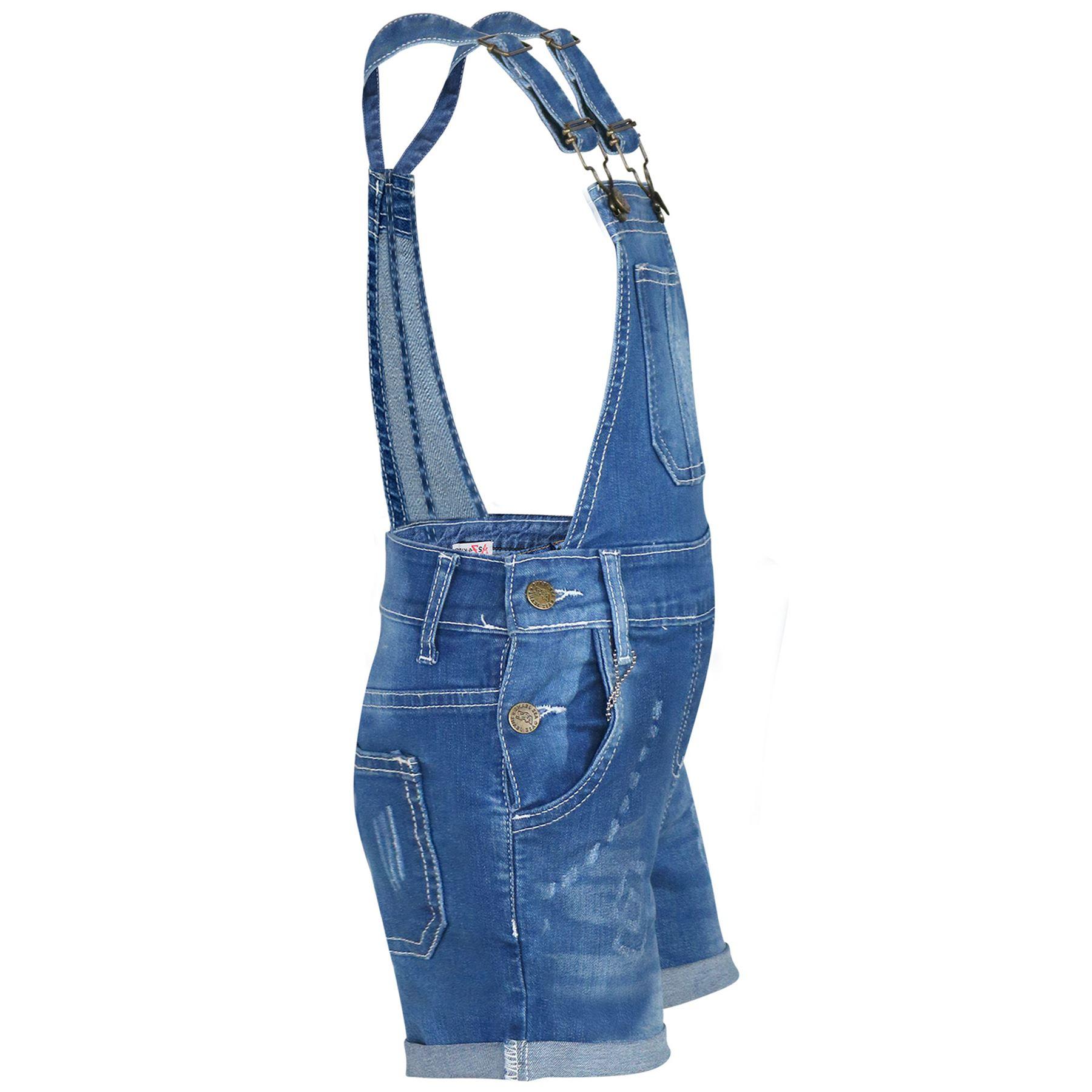 Indexbild 16 - Kinder Mädchen Latzhose Shorts Denim Gerippt Stretch Jeans Overall 5-13 Jahr