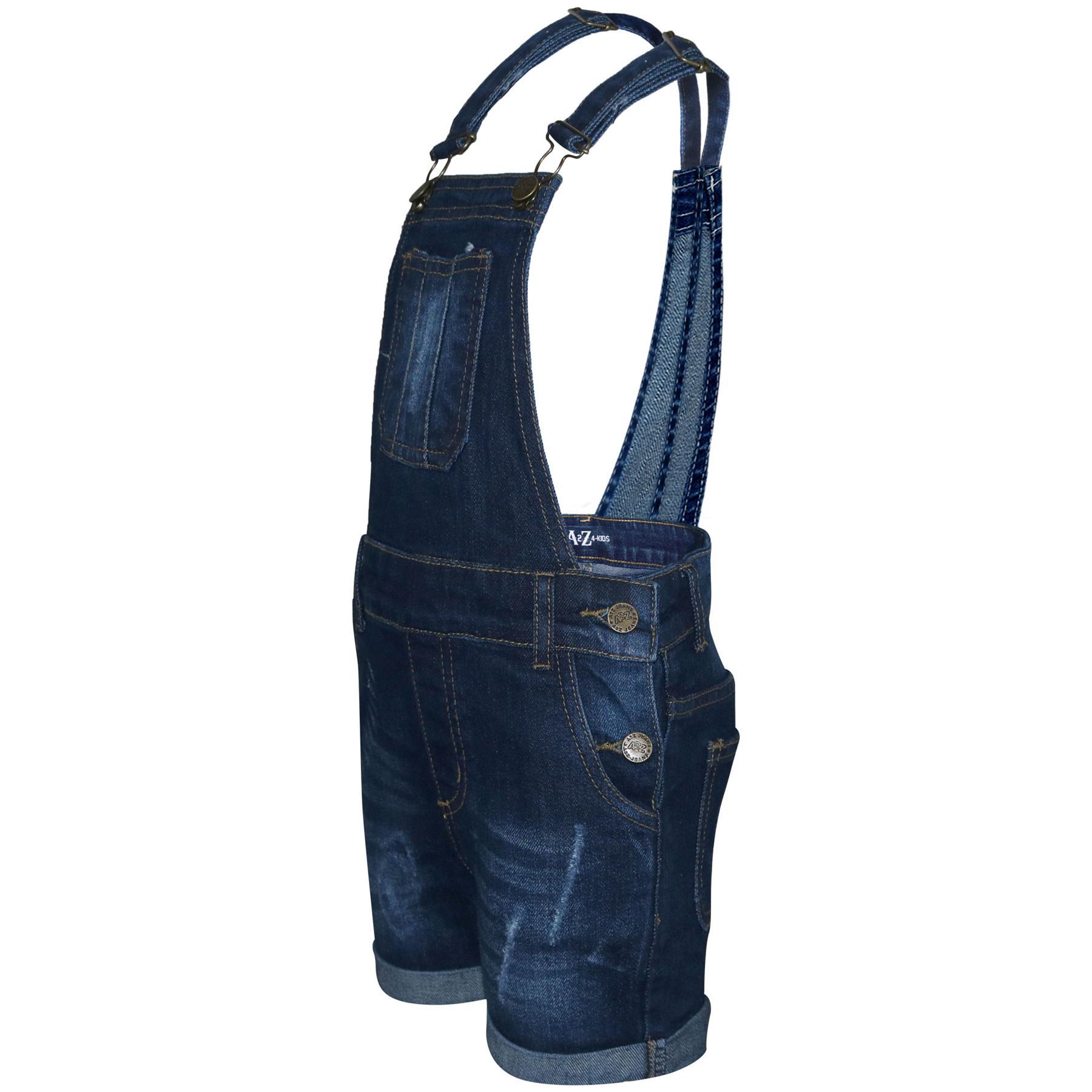 Indexbild 9 - Kinder Mädchen Latzhose Shorts Denim Gerippt Stretch Jeans Overall 5-13 Jahr