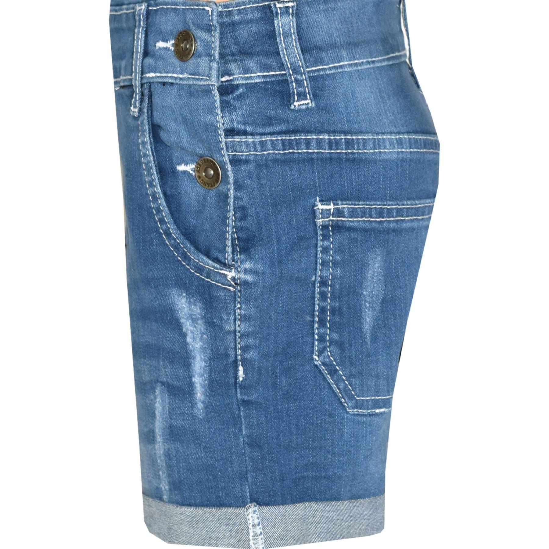 Indexbild 17 - Kinder Mädchen Latzhose Shorts Denim Gerippt Stretch Jeans Overall 5-13 Jahr