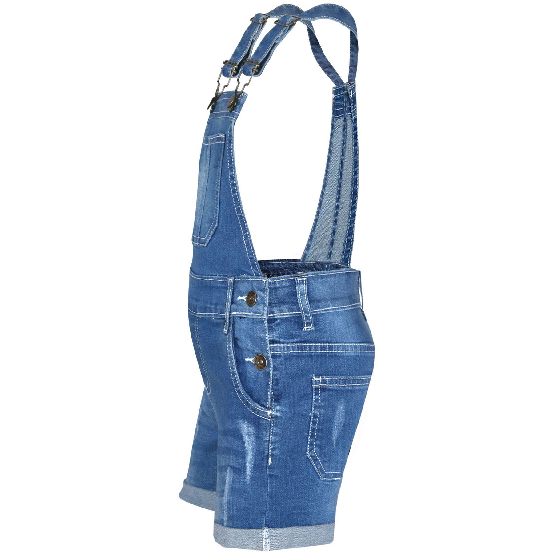 Indexbild 14 - Kinder Mädchen Latzhose Shorts Denim Gerippt Stretch Jeans Overall 5-13 Jahr