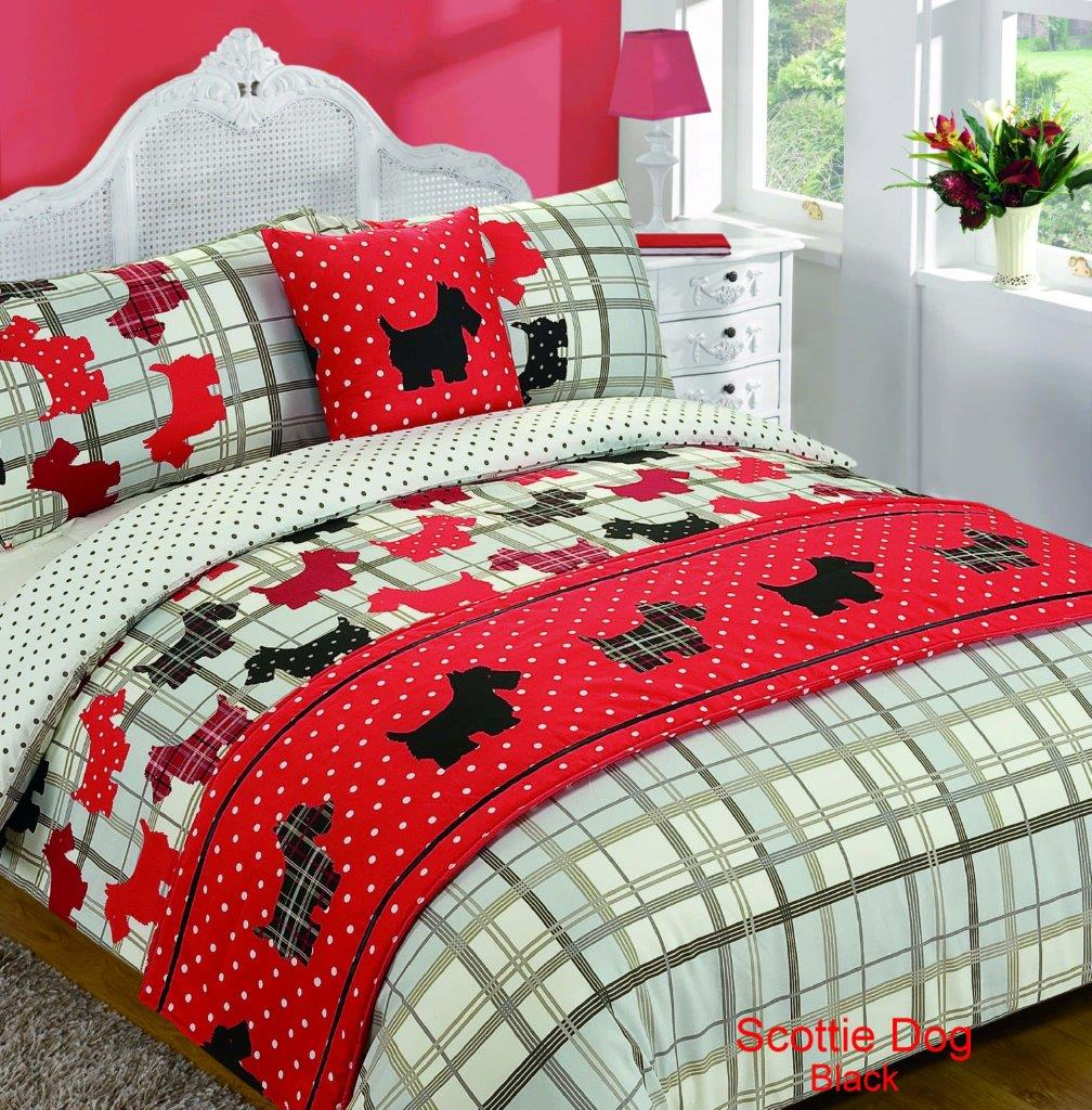 5 teile bett im beutel bettbezug scottie hund tartan tier aufdruck ebay. Black Bedroom Furniture Sets. Home Design Ideas