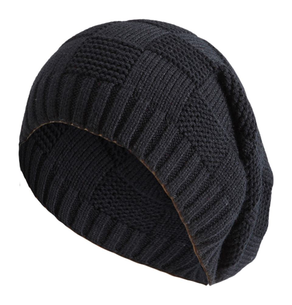 Knitting Pattern Long Beanie : Womens Mens Knitted Cap Striped Design Pattern Long ...