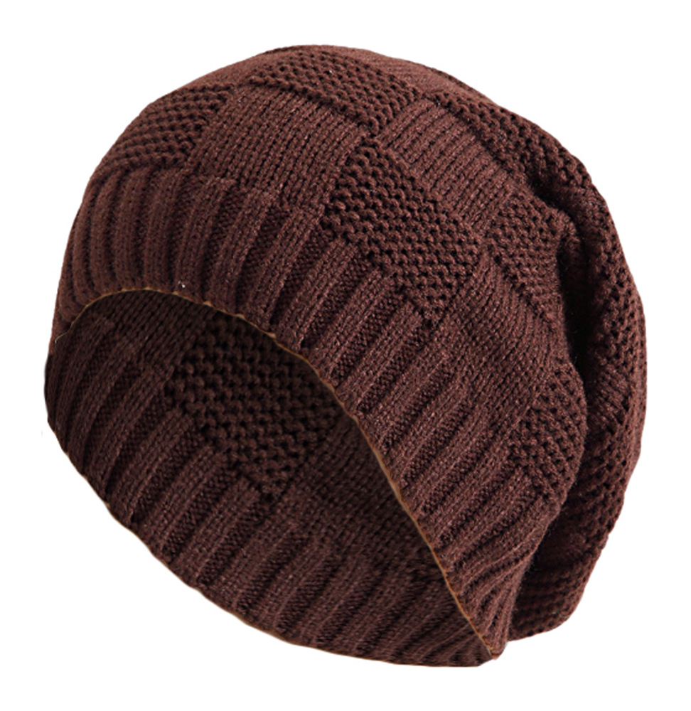 Mens Slouchy Beanie Knit Pattern : Womens Mens Knitted Cap Striped Design Pattern Long Beanie Slouch H...