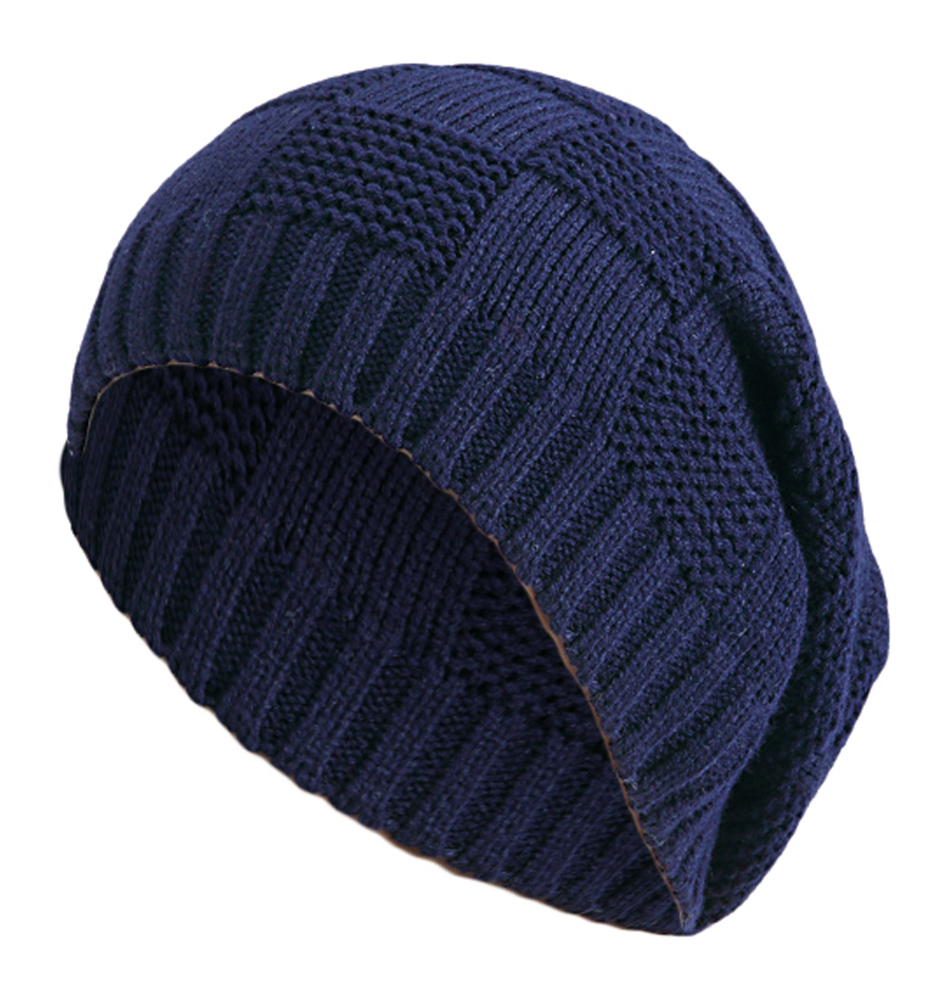 Mens Slouchy Beanie Knitting Pattern : Womens Mens Knitted Cap Striped Design Pattern Long Beanie Slouch H...